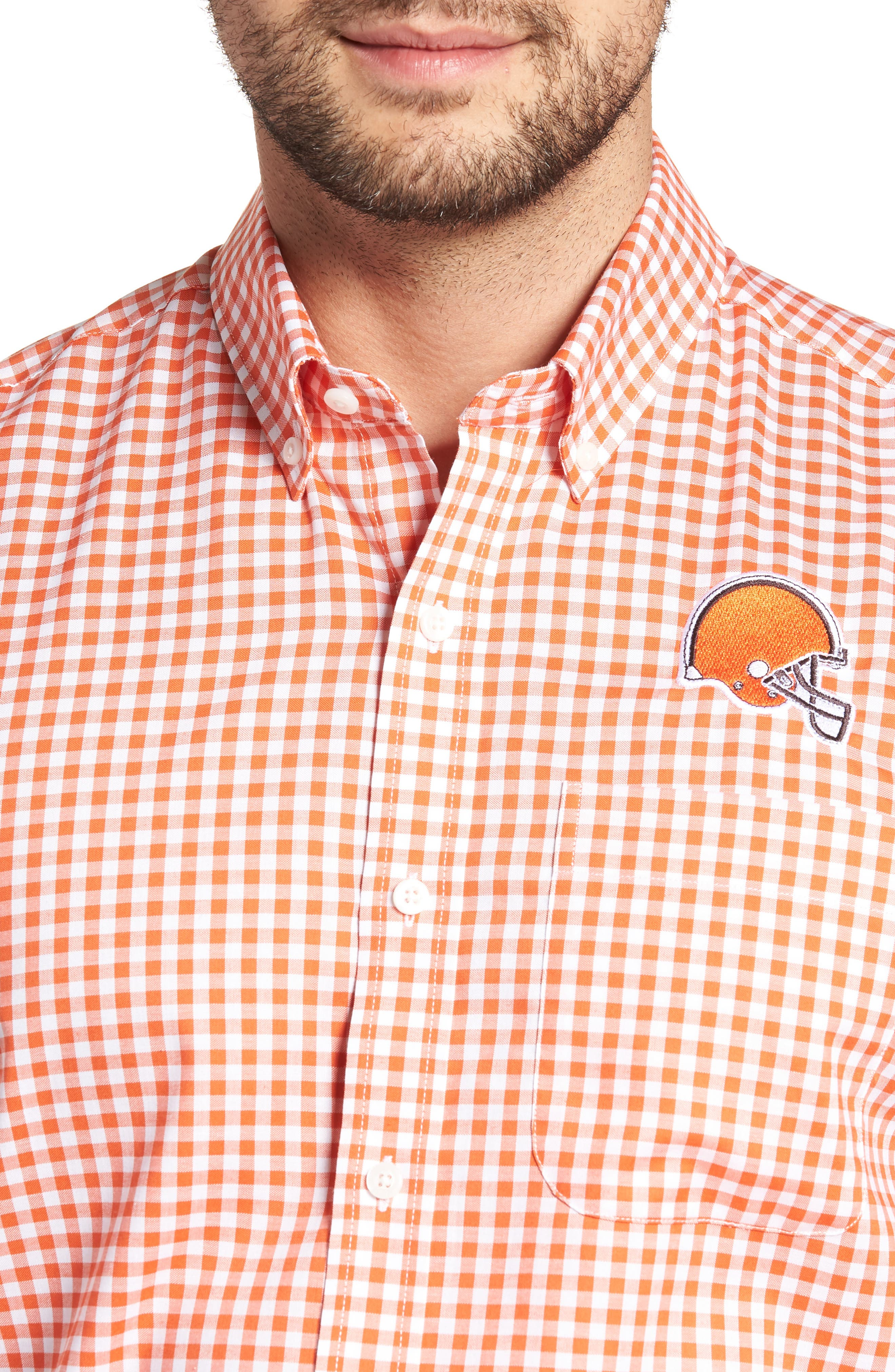 League Cleveland Browns Regular Fit Shirt,                             Alternate thumbnail 4, color,                             COLLEGE ORANGE