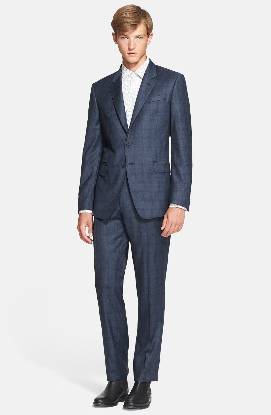 'Byard' Trim Fit Plaid Suit,                         Main,                         color, 414