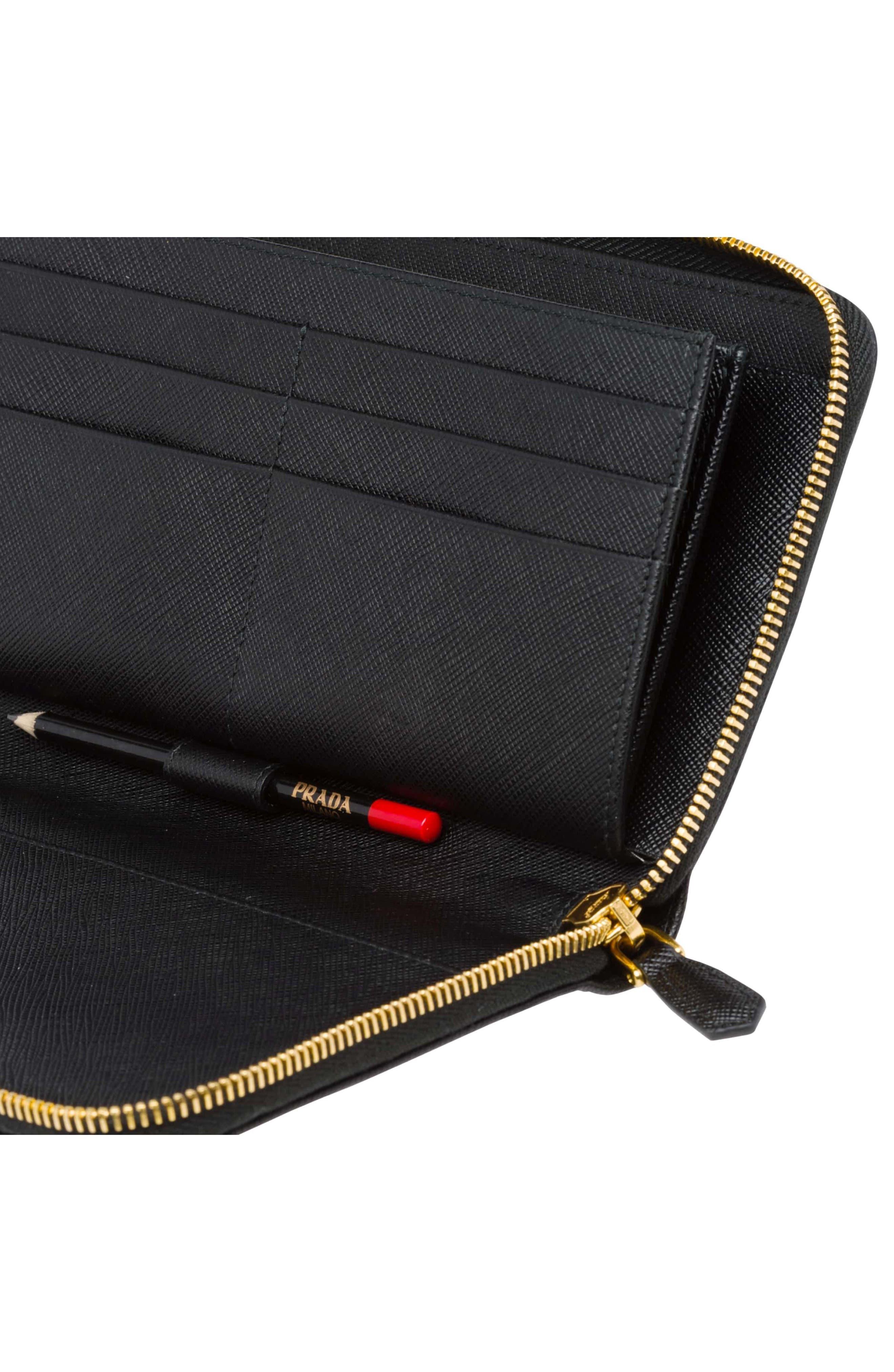 Oro Saffiano Leather Zip Around Wallet,                             Alternate thumbnail 4, color,                             001