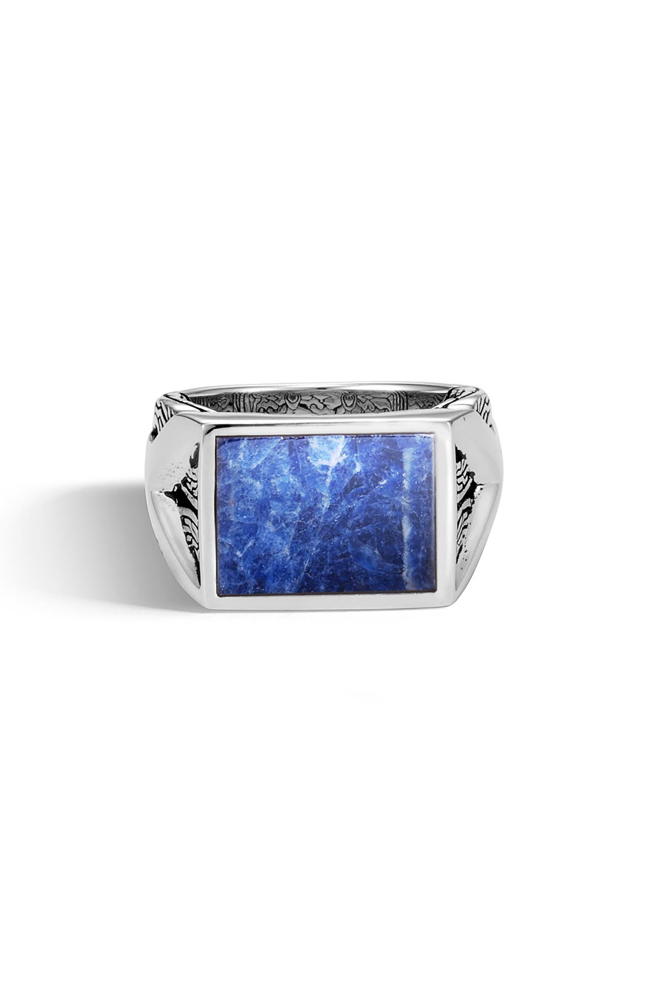 Men's Classic Chain Signet Ring,                             Main thumbnail 1, color,                             SILVER/ SODALITE