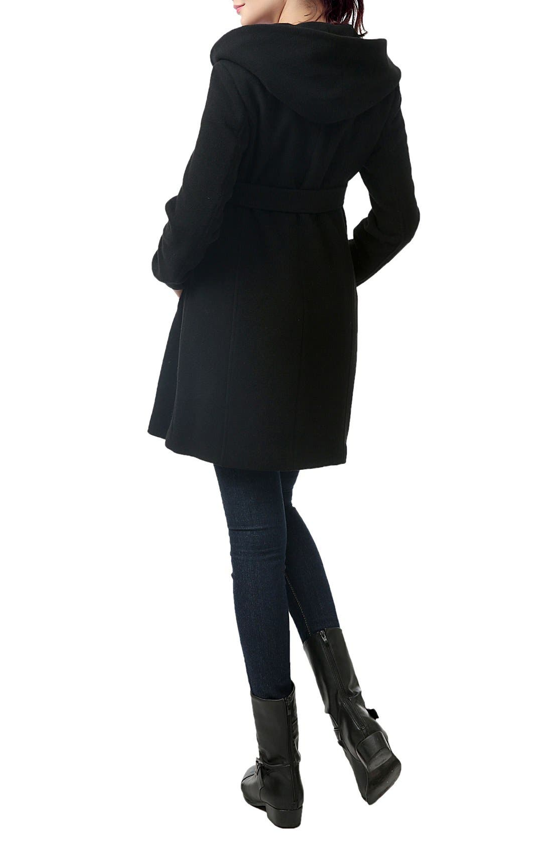 KIMI AND KAI,                             'Lora' Wool Blend Maternity Coat,                             Alternate thumbnail 2, color,                             BLACK