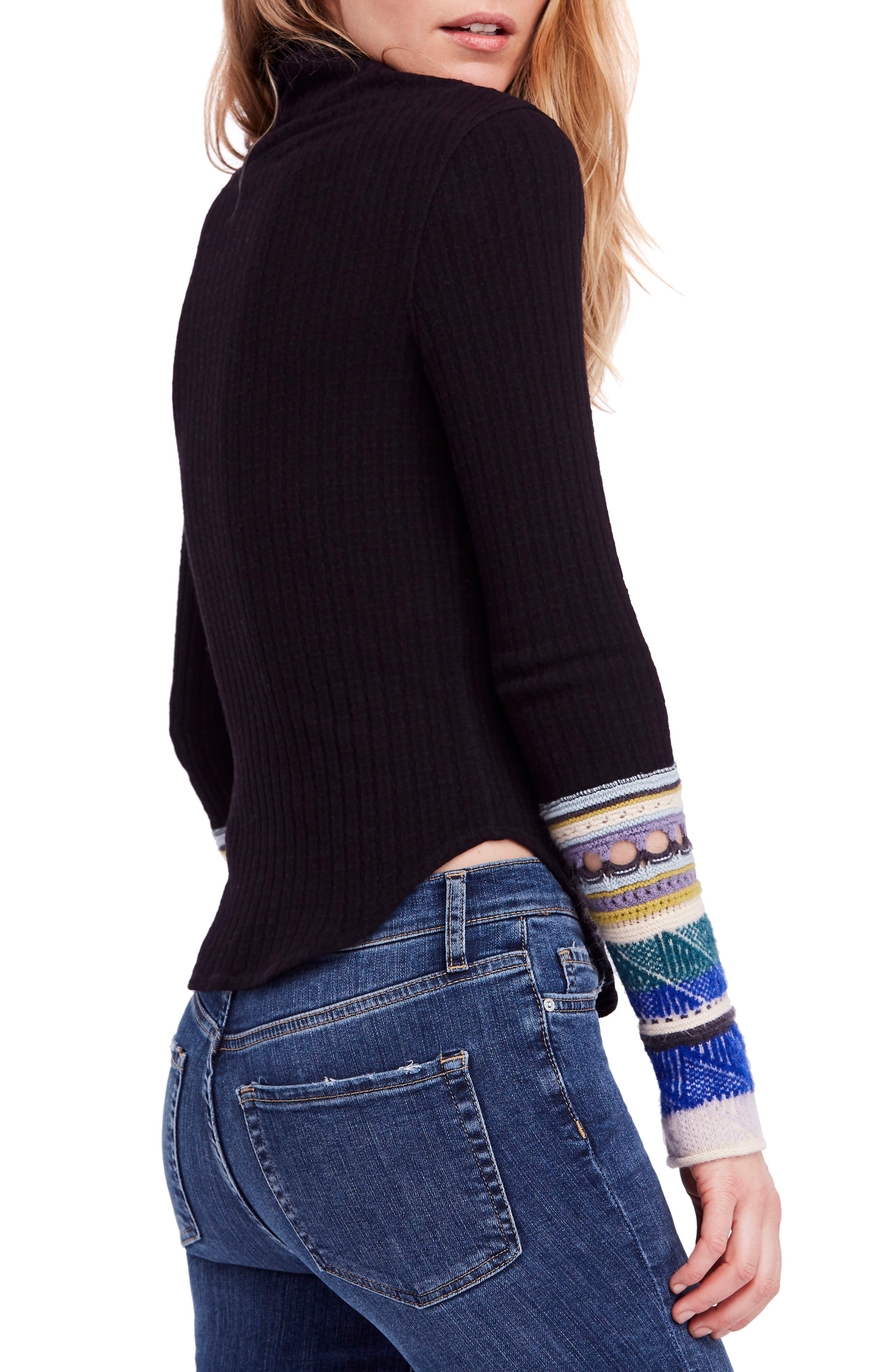 Mixed-Up Cuff Sweater,                             Alternate thumbnail 2, color,                             001