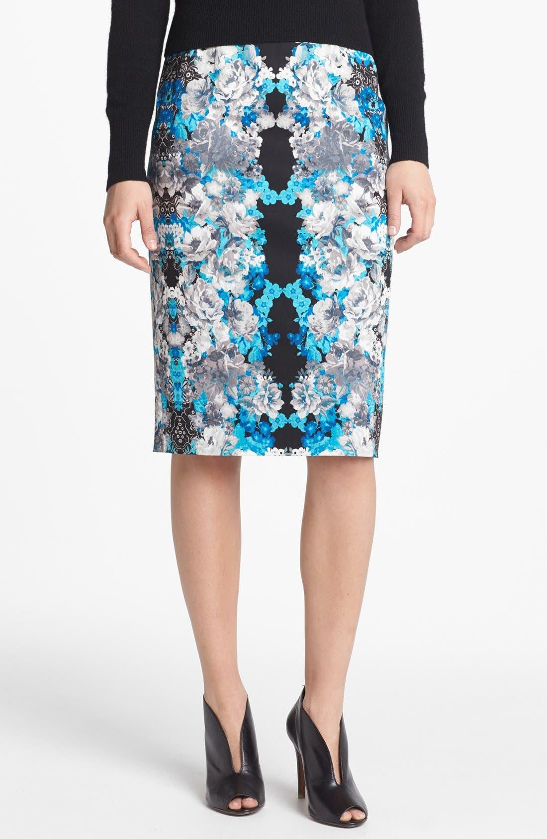 Print Pencil Skirt,                         Main,                         color,