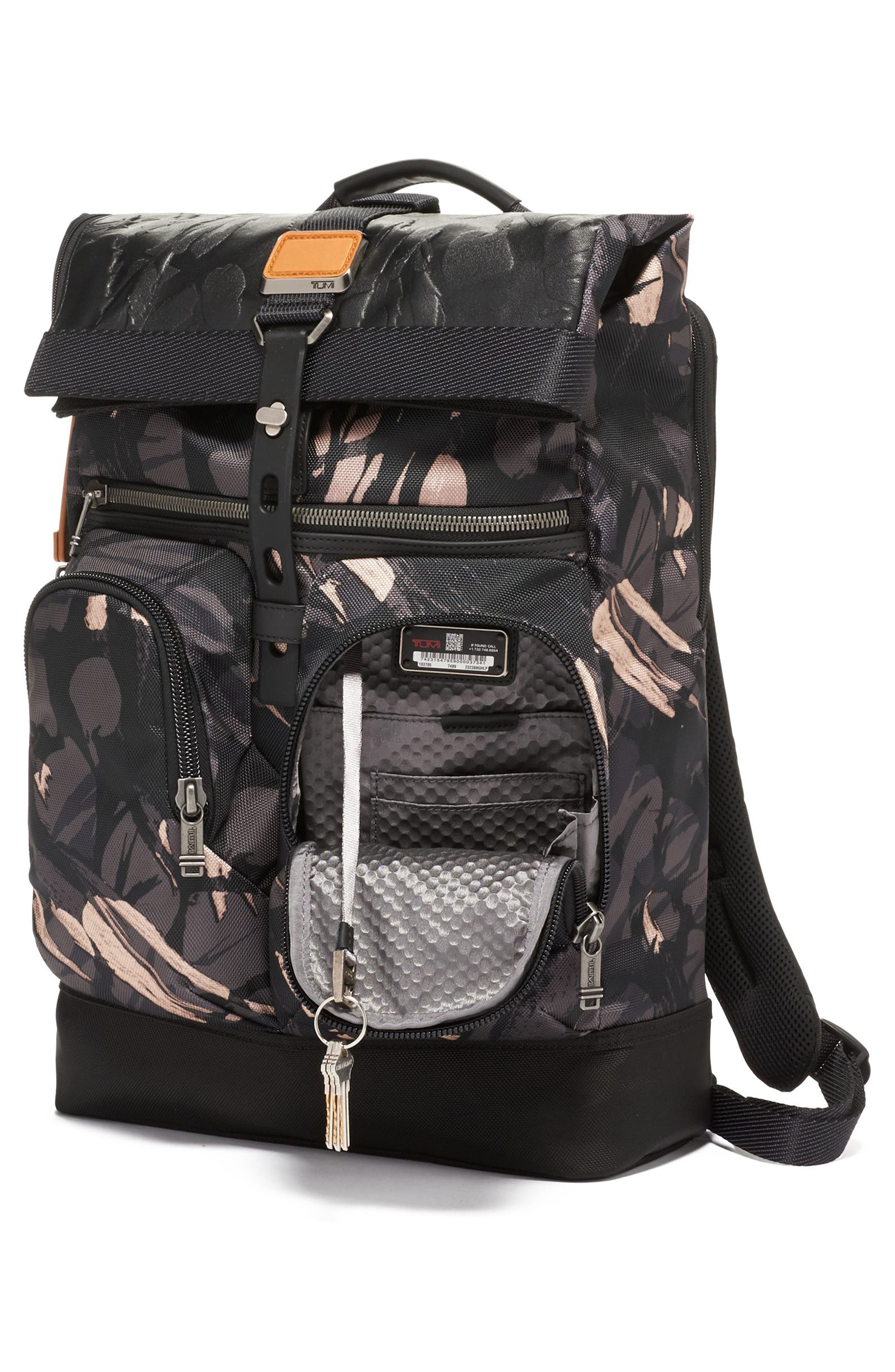 TUMI,                             Alpha Bravo London Backpack,                             Alternate thumbnail 3, color,                             GREY HIGHLANDS PRINT