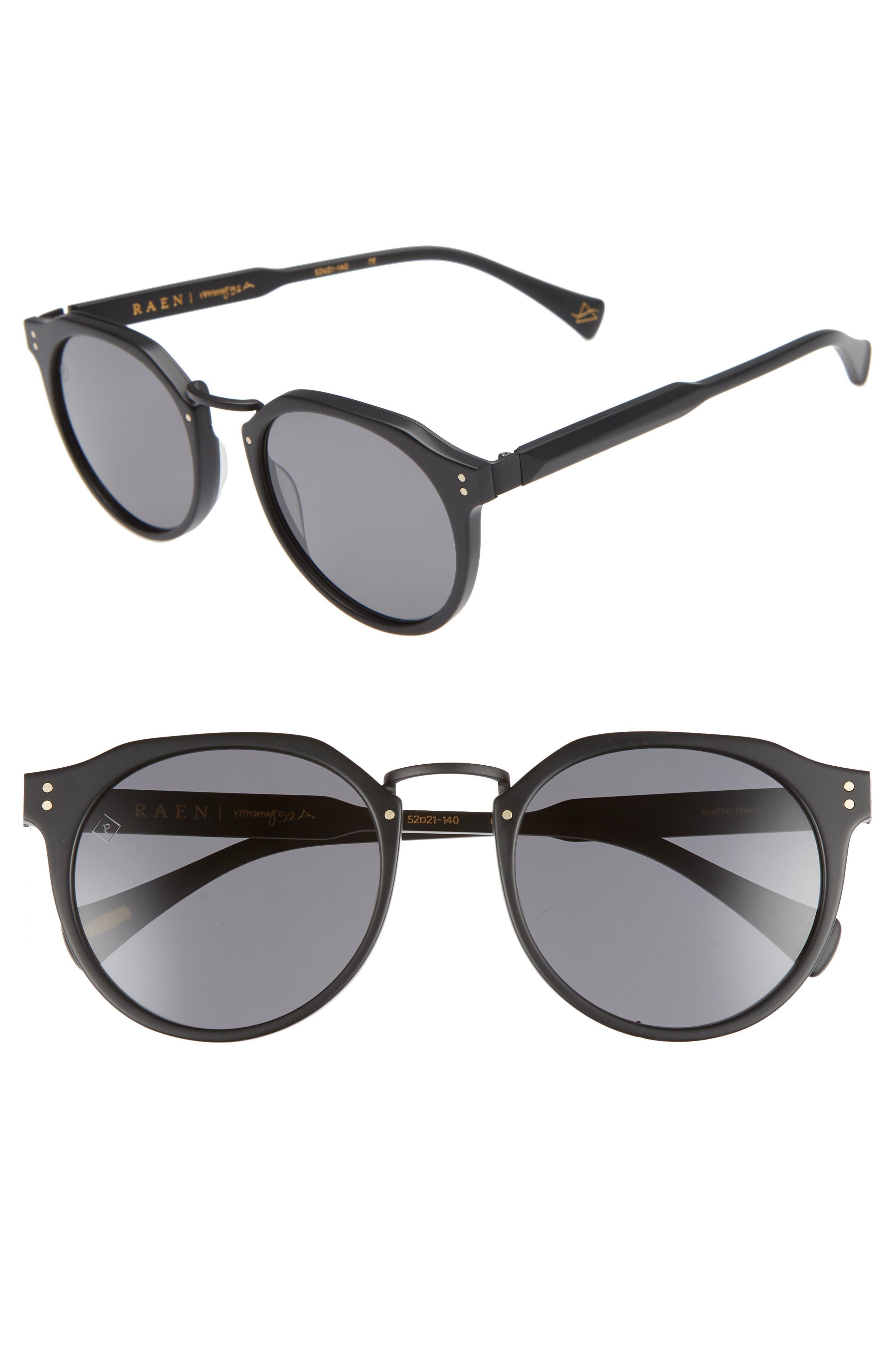 Remmy 52mm Polarized Sunglasses,                         Main,                         color, MATTE BLACK/ MATTE BRINDLE