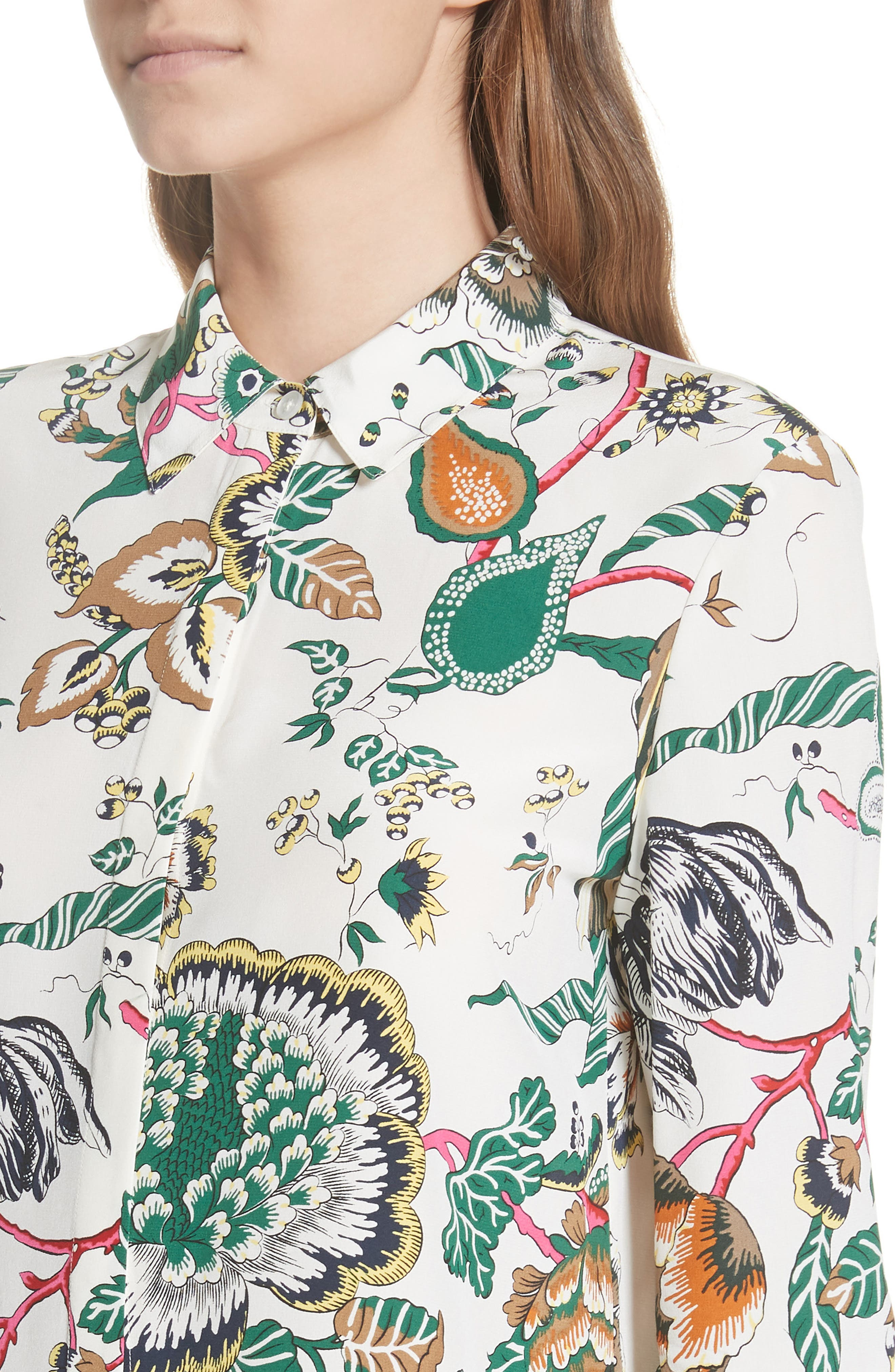 Erica Print Silk Shirt,                             Alternate thumbnail 4, color,                             IVORY HAPPY TIMES