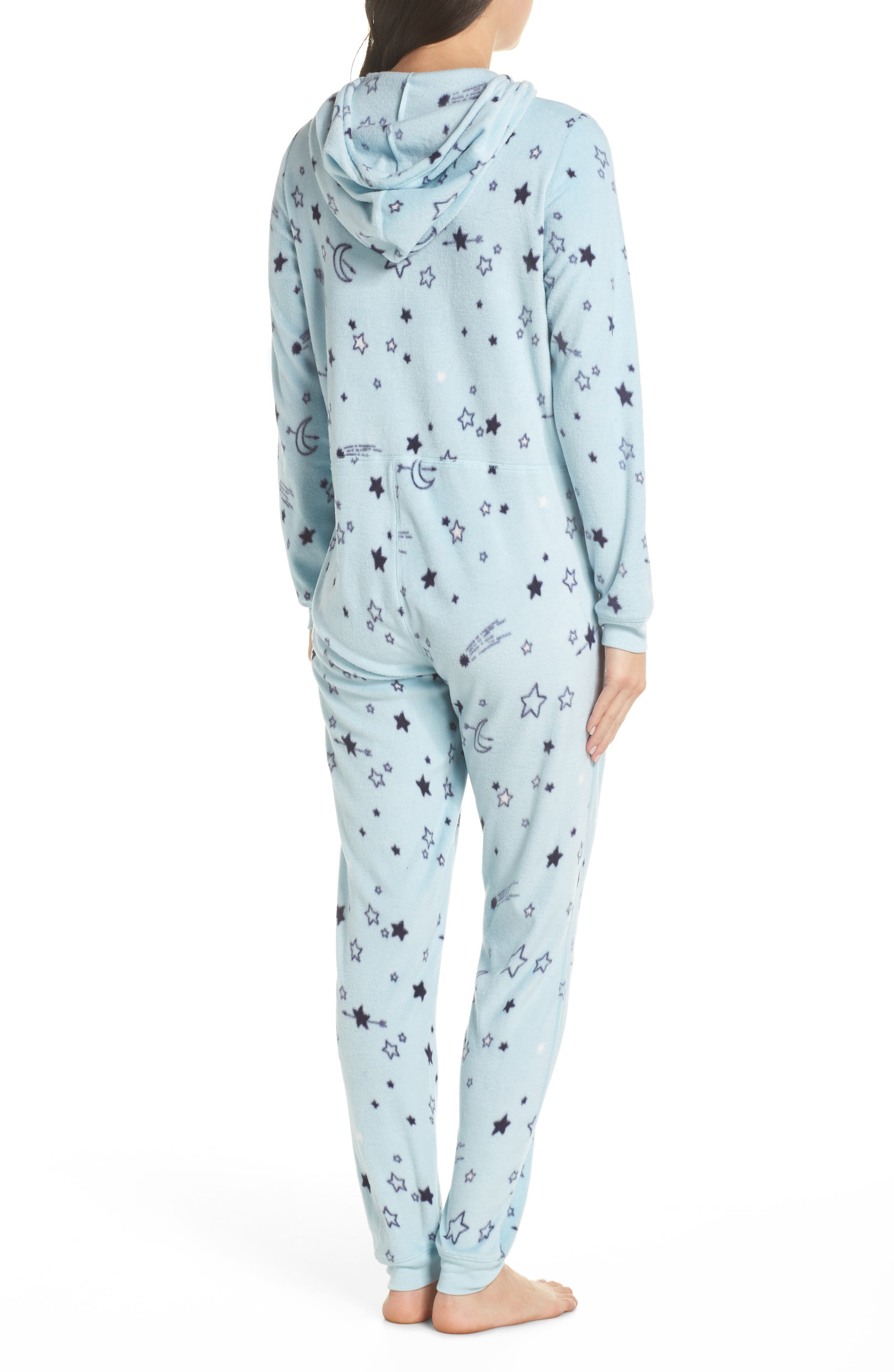 Hooded Pajama Jumpsuit,                             Alternate thumbnail 2, color,                             BLUE OMPHALODES SHOOT 4 STARS