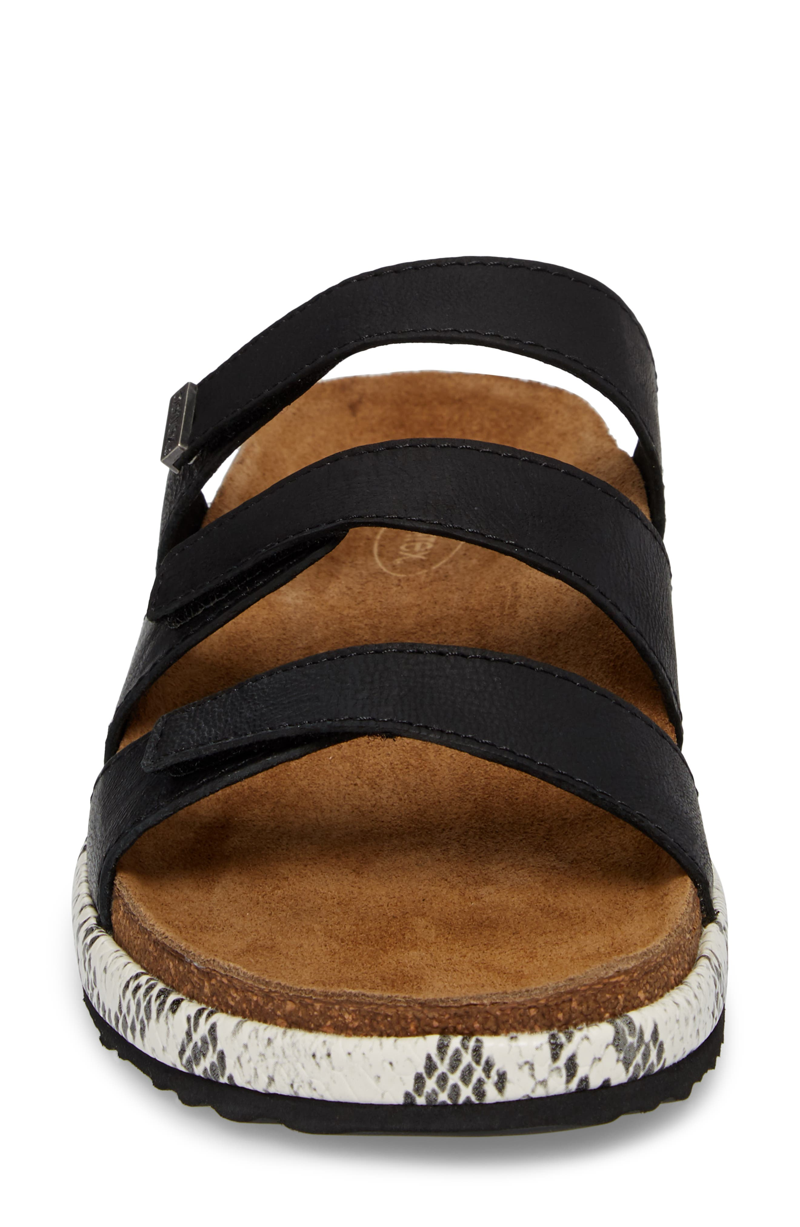 Isabelle Slide Sandal,                             Alternate thumbnail 4, color,                             BLACK LEATHER