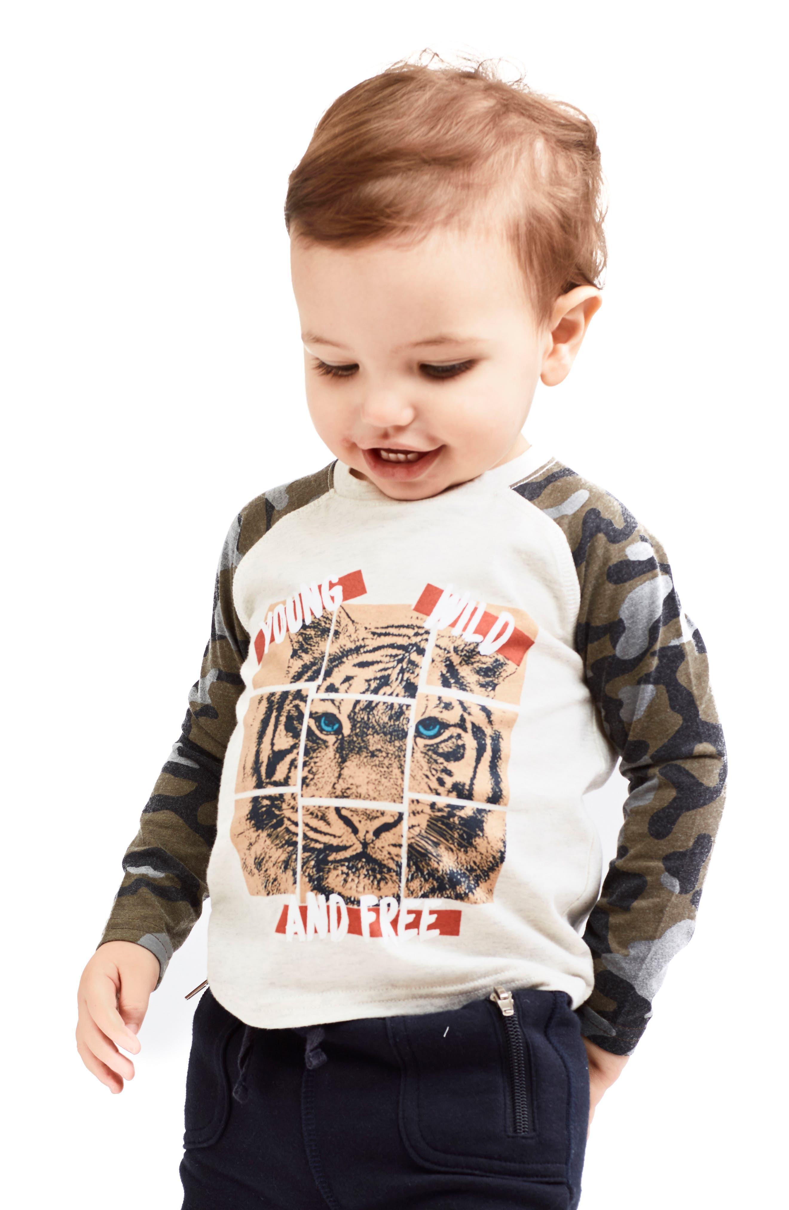Mini Roar Organic Cotton Raglan T-Shirt,                             Alternate thumbnail 4, color,                             053