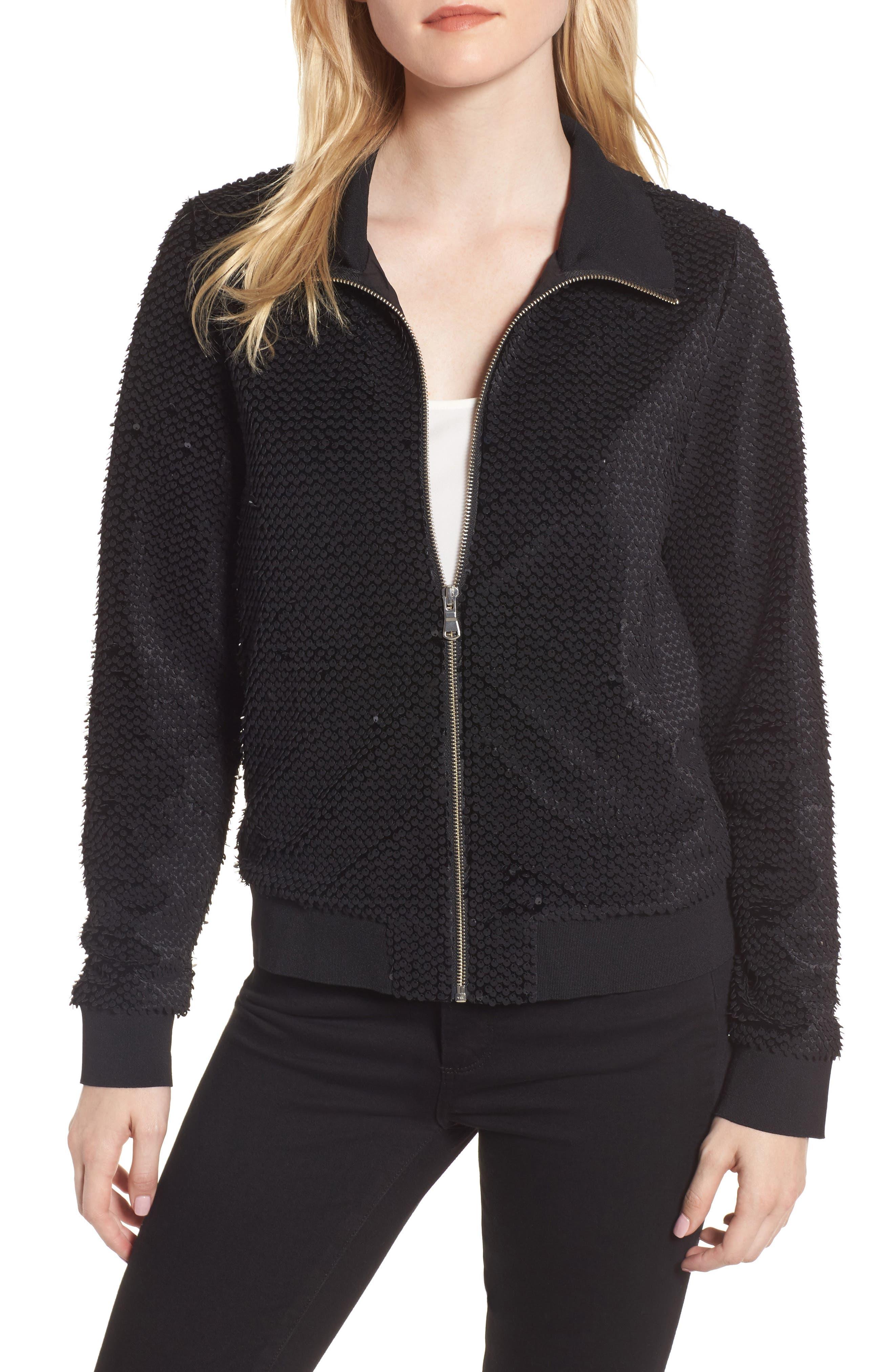 Sequin Velvet Track Jacket,                             Main thumbnail 1, color,                             001