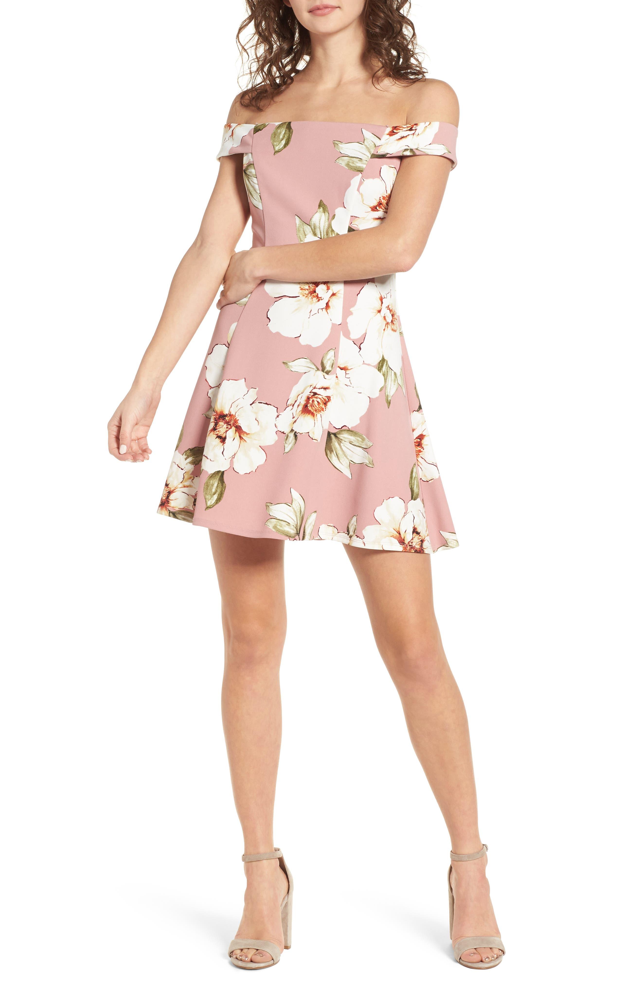 Floral Print Off the Shoulder A-Line Dress,                             Main thumbnail 1, color,