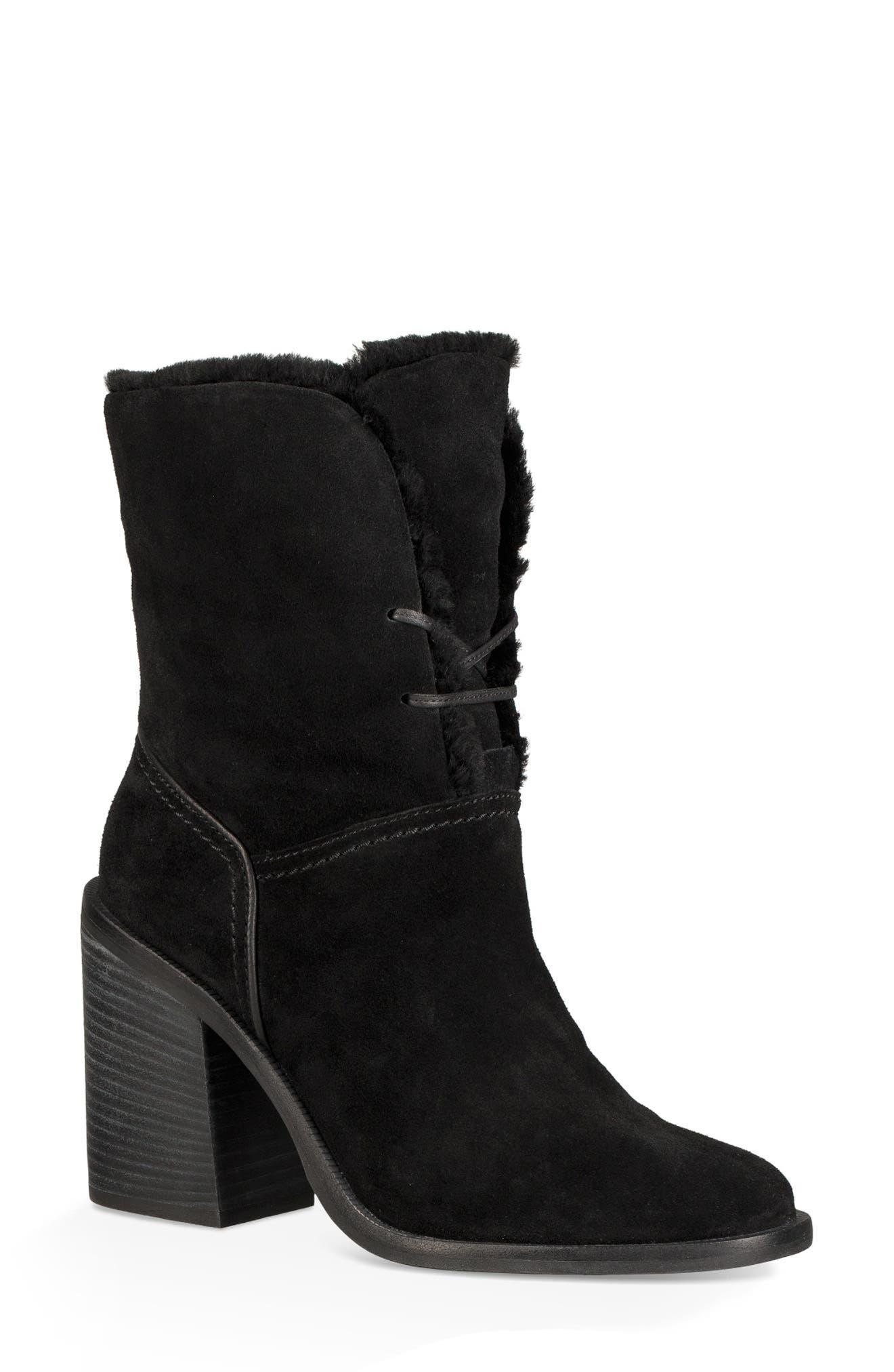 Jerene Genuine Shearling Boot,                         Main,                         color, BLACK