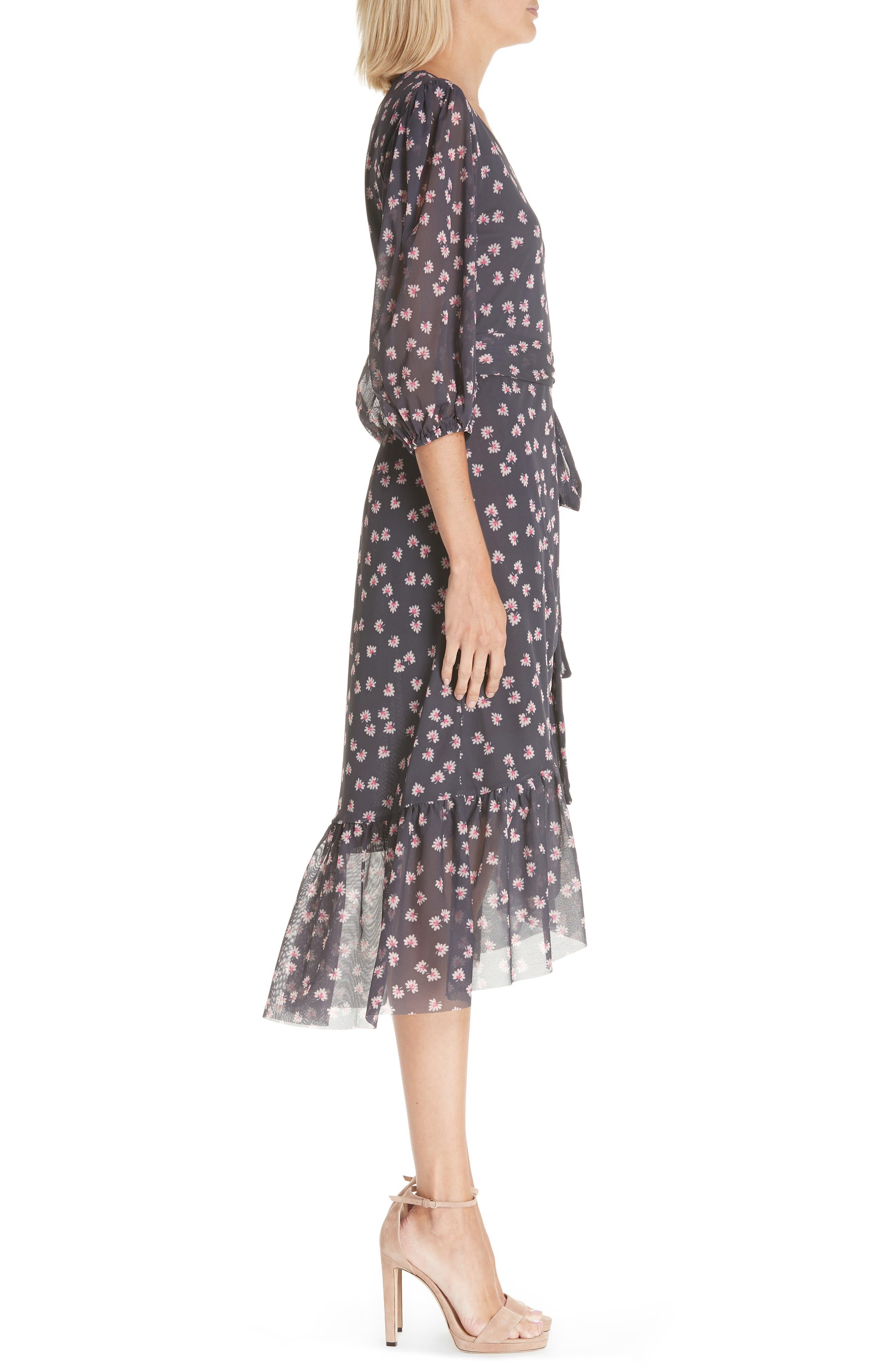 GANNI,                             Floral Print Wrap Dress,                             Alternate thumbnail 3, color,                             400
