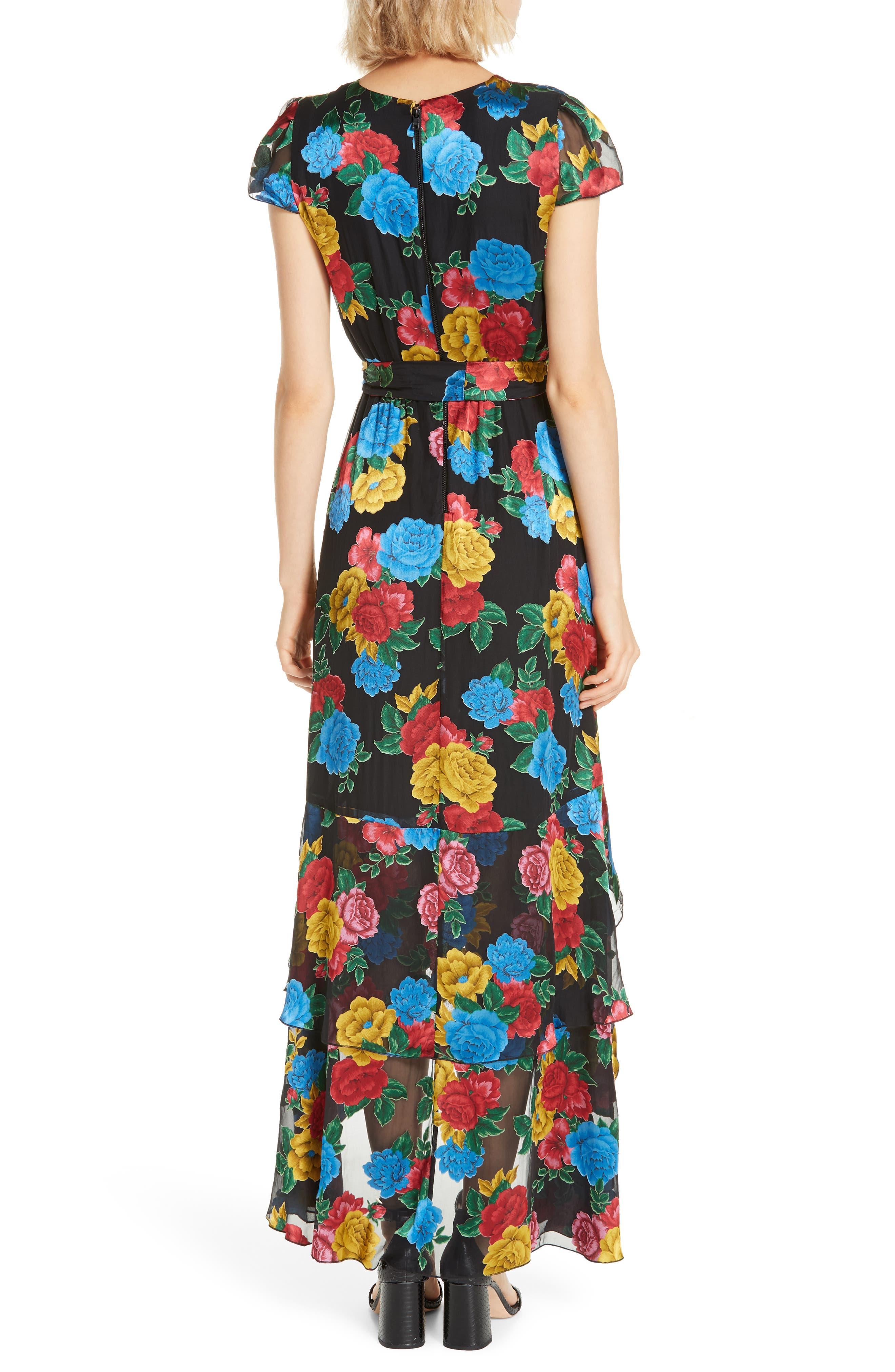 Erika Ruffle High/Low Midi Dress,                             Alternate thumbnail 2, color,                             CAMELLIA BOUQUET BLACK/ MULTI