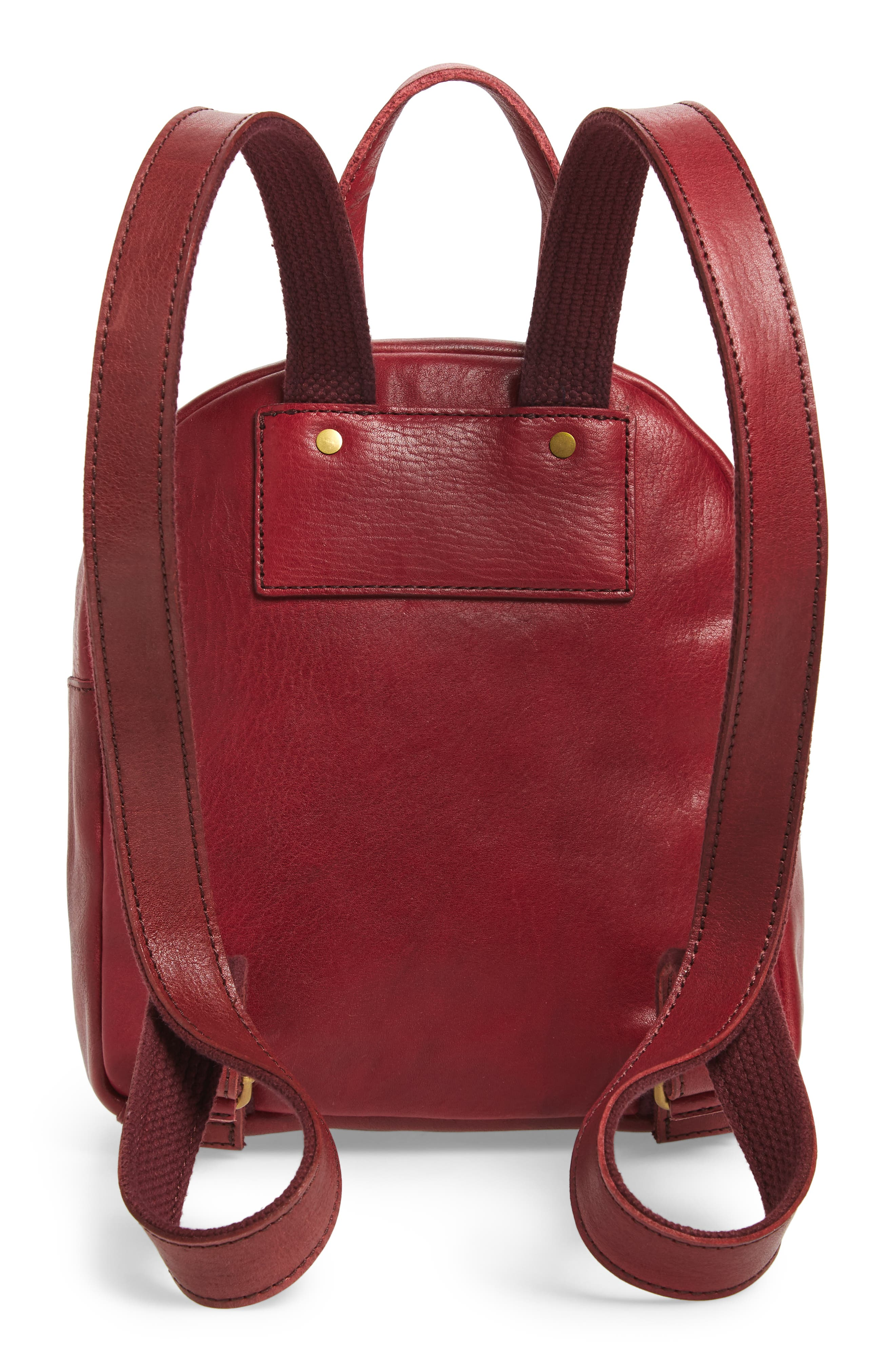 Mini Lorimer Leather Backpack,                             Alternate thumbnail 3, color,                             DARK CABERNET