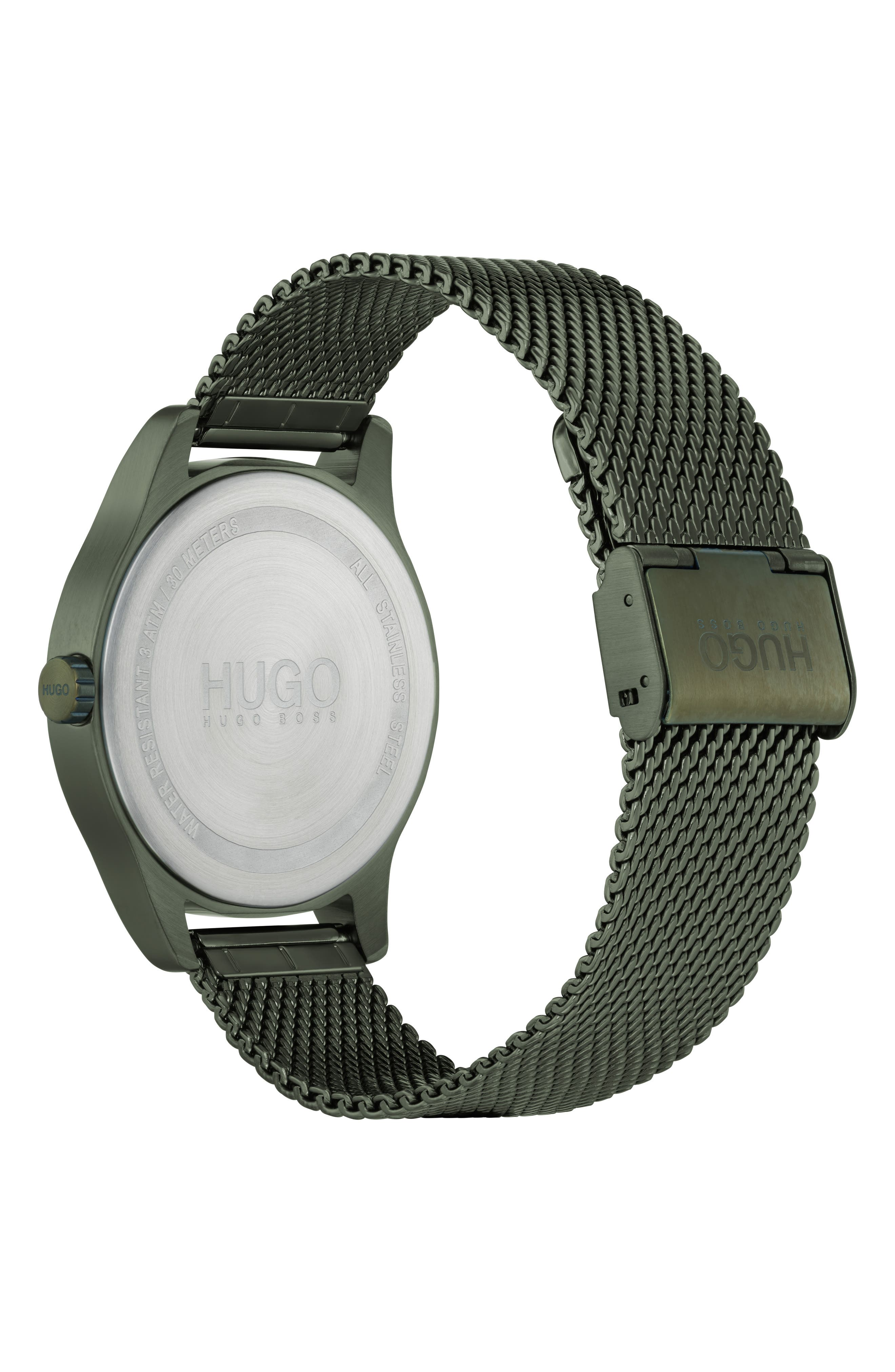 Move Mesh Strap Watch, 42mm,                             Alternate thumbnail 2, color,                             OLIVE GREEN/GREY