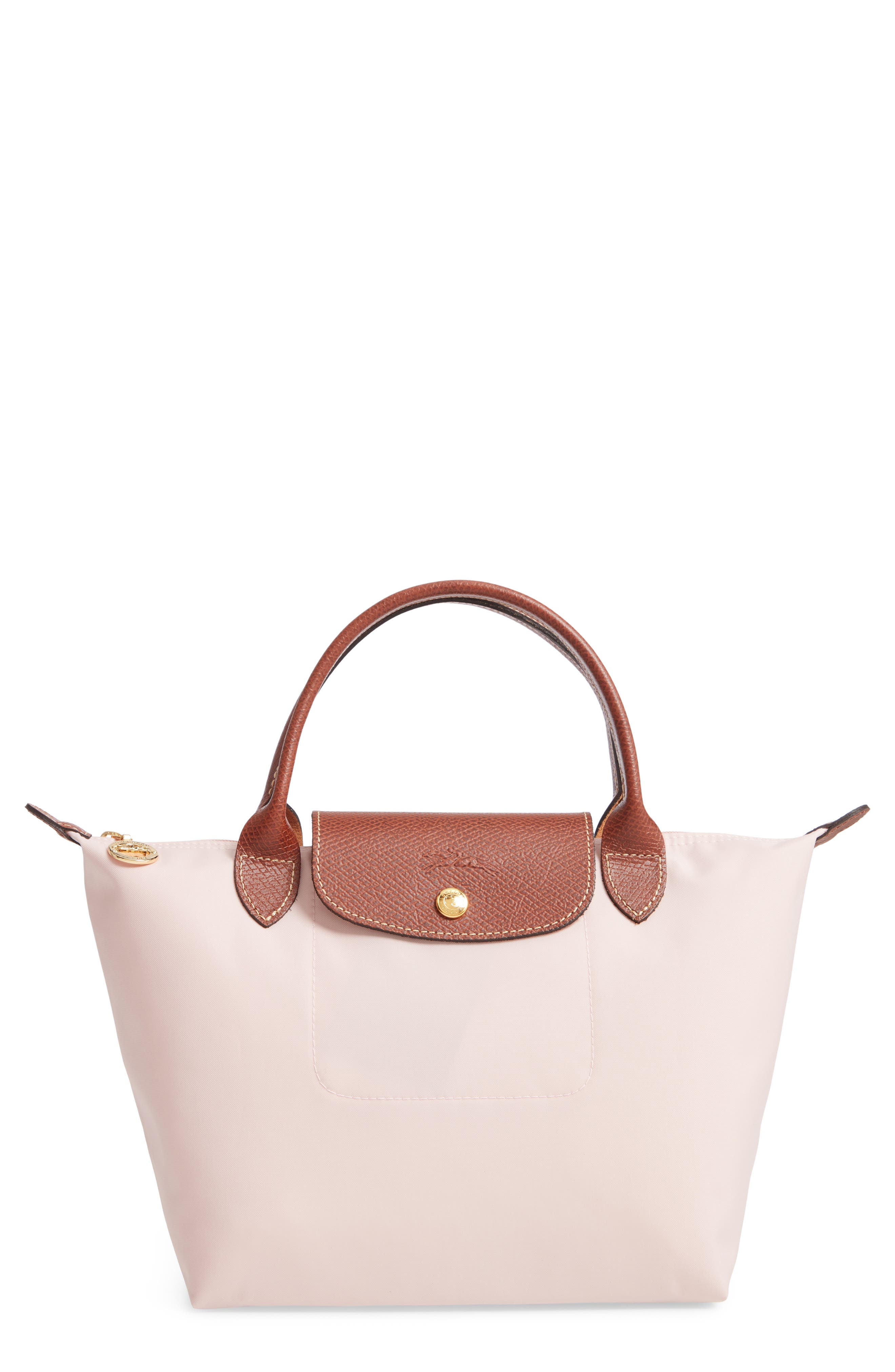'Small Le Pliage' Top Handle Tote, Main, color, PINK ICE