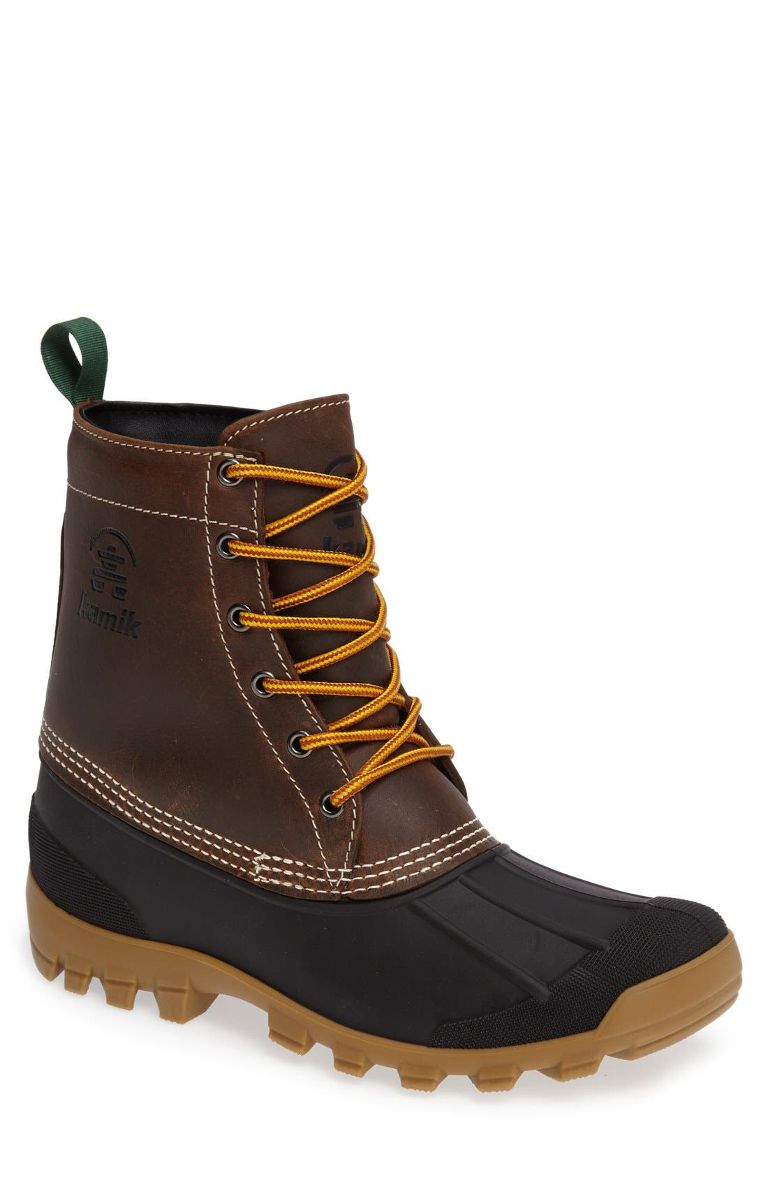 Yukon6 Waterproof Work Boot,                             Main thumbnail 1, color,                             DARK BROWN LEATHER