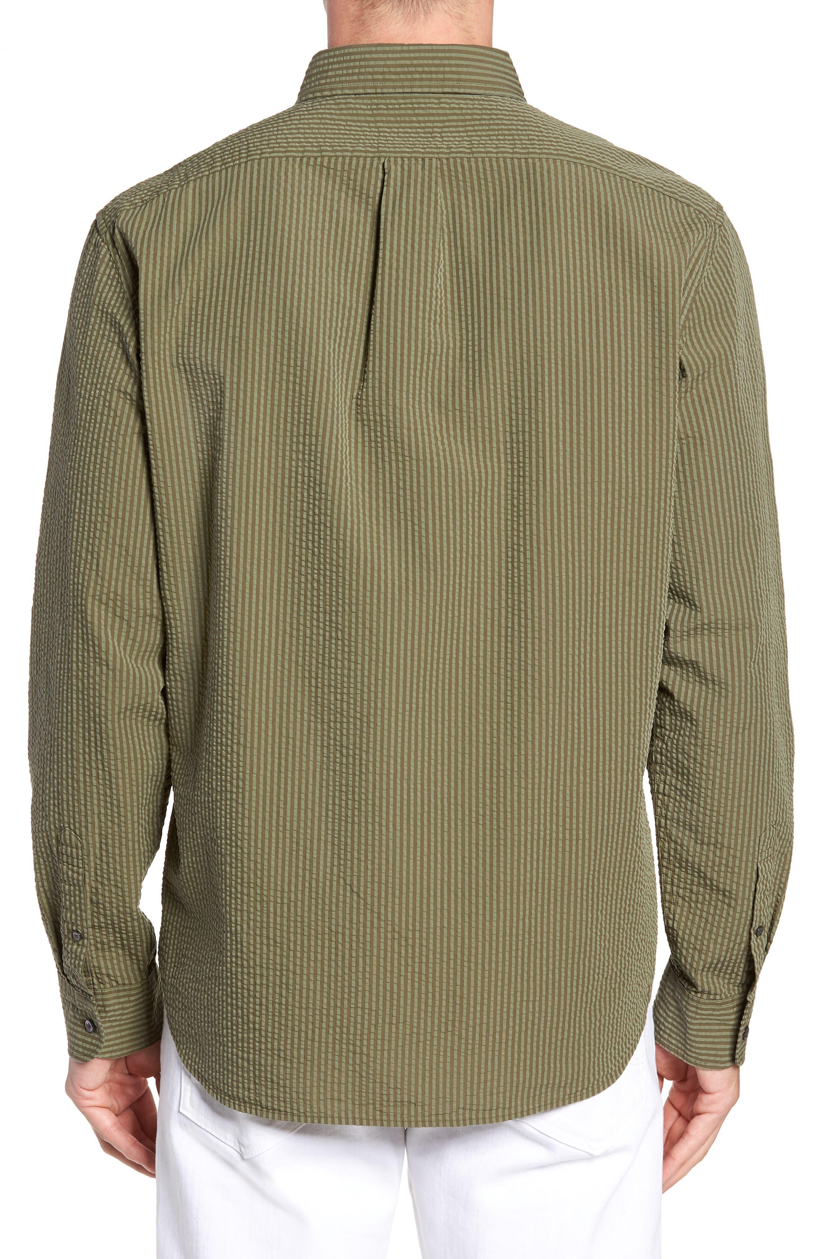 Slim Fit Stripe Seersucker Sport Shirt,                             Alternate thumbnail 2, color,                             SURPLUS WX2234