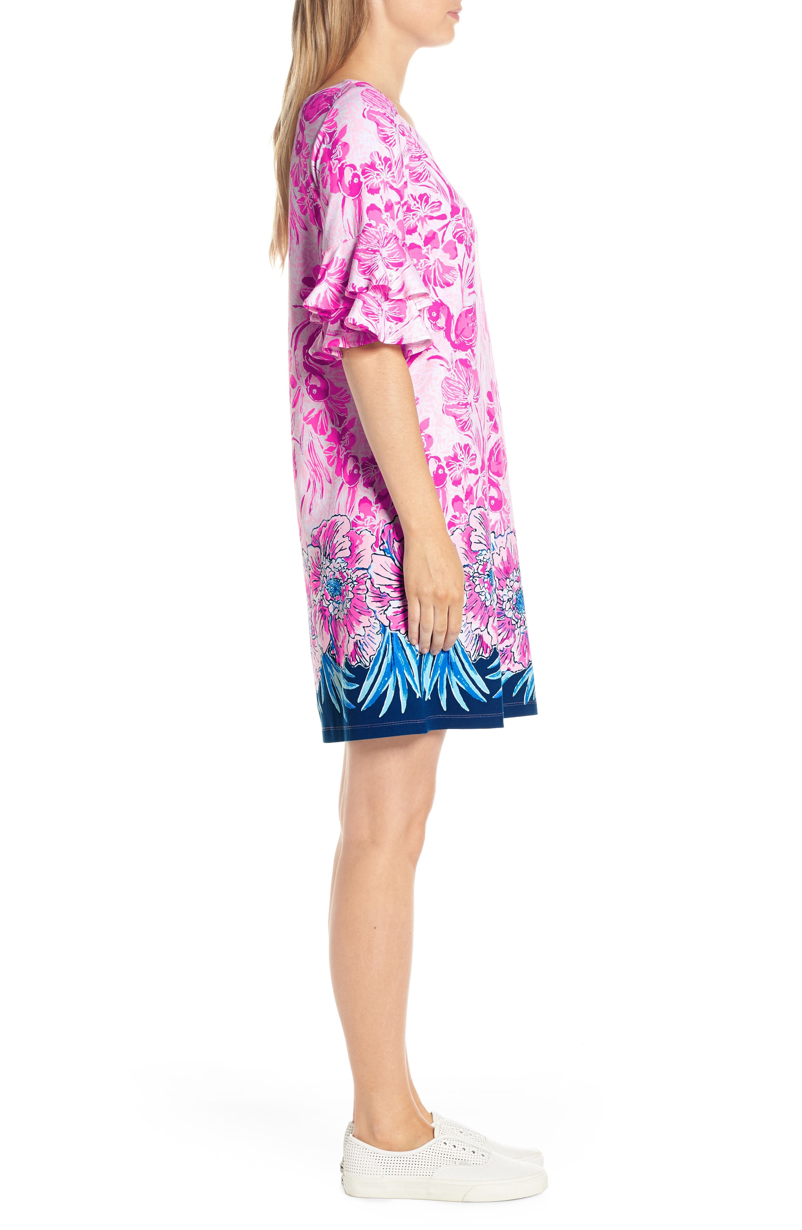 LILLY PULITZER<SUP>®</SUP>,                             Lula Shift Dress,                             Alternate thumbnail 3, color,                             CORAL REEF TINT FLAMINGLE