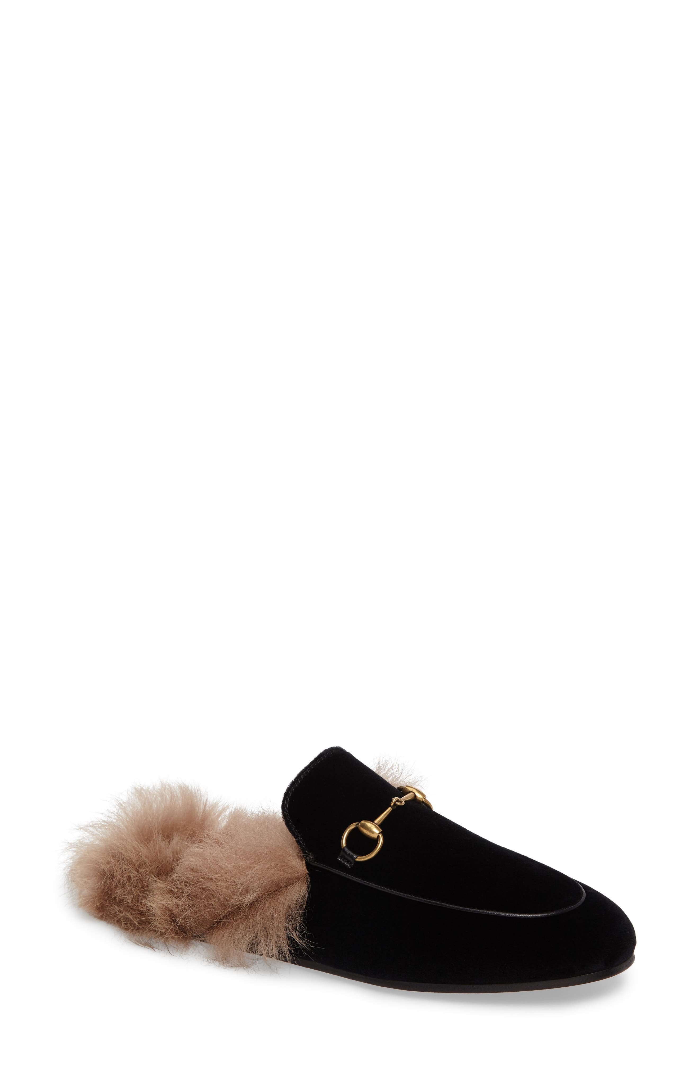Princetown Genuine Shearling Mule Loafer,                             Main thumbnail 1, color,                             001
