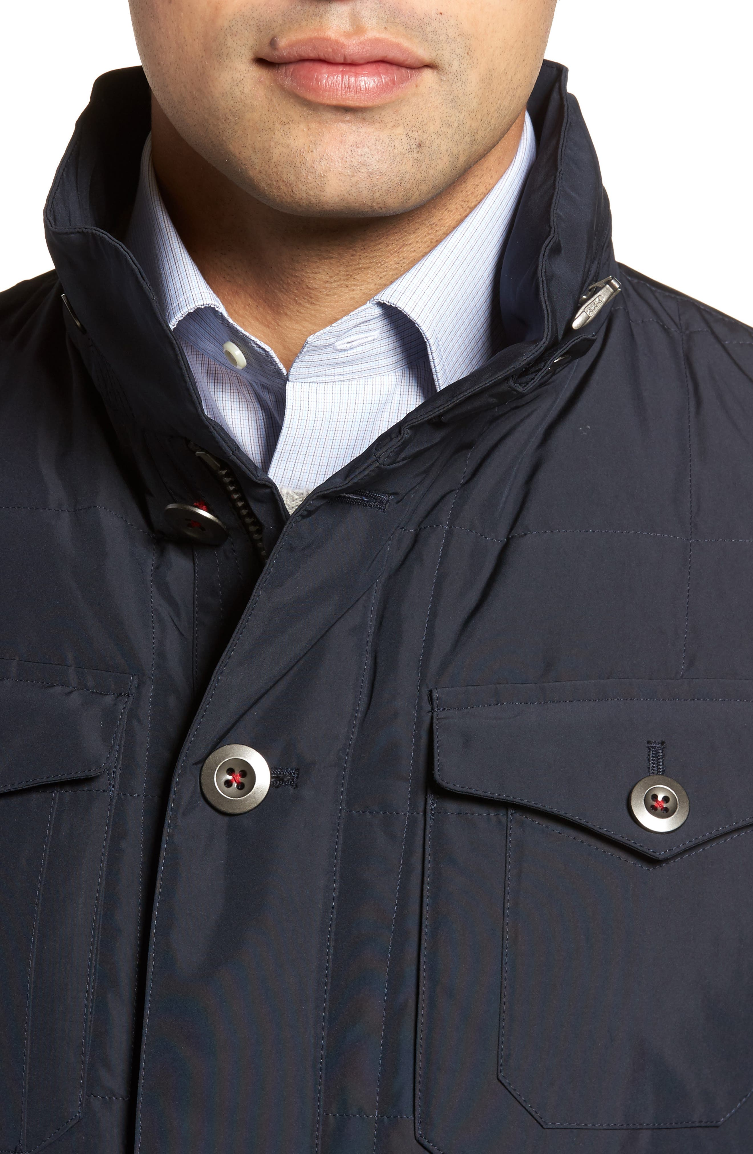 Quilted Down Field Jacket with Stowaway Hood,                             Alternate thumbnail 8, color,
