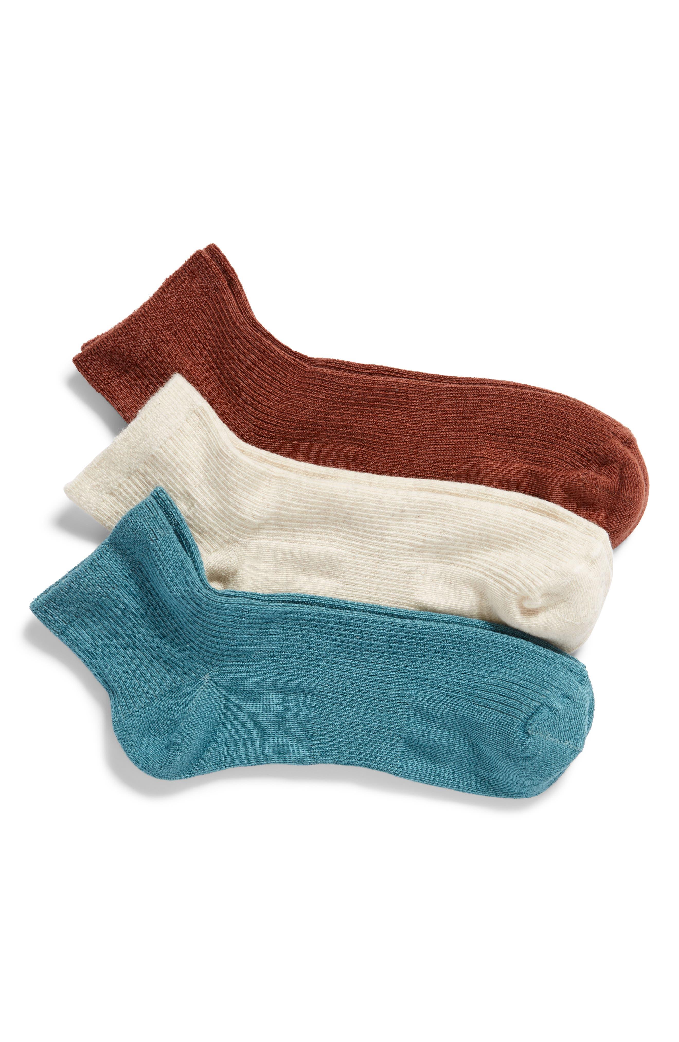 3-Pack Favorite Ankle Socks,                             Main thumbnail 1, color,                             BROWN CINNAMON MULTI