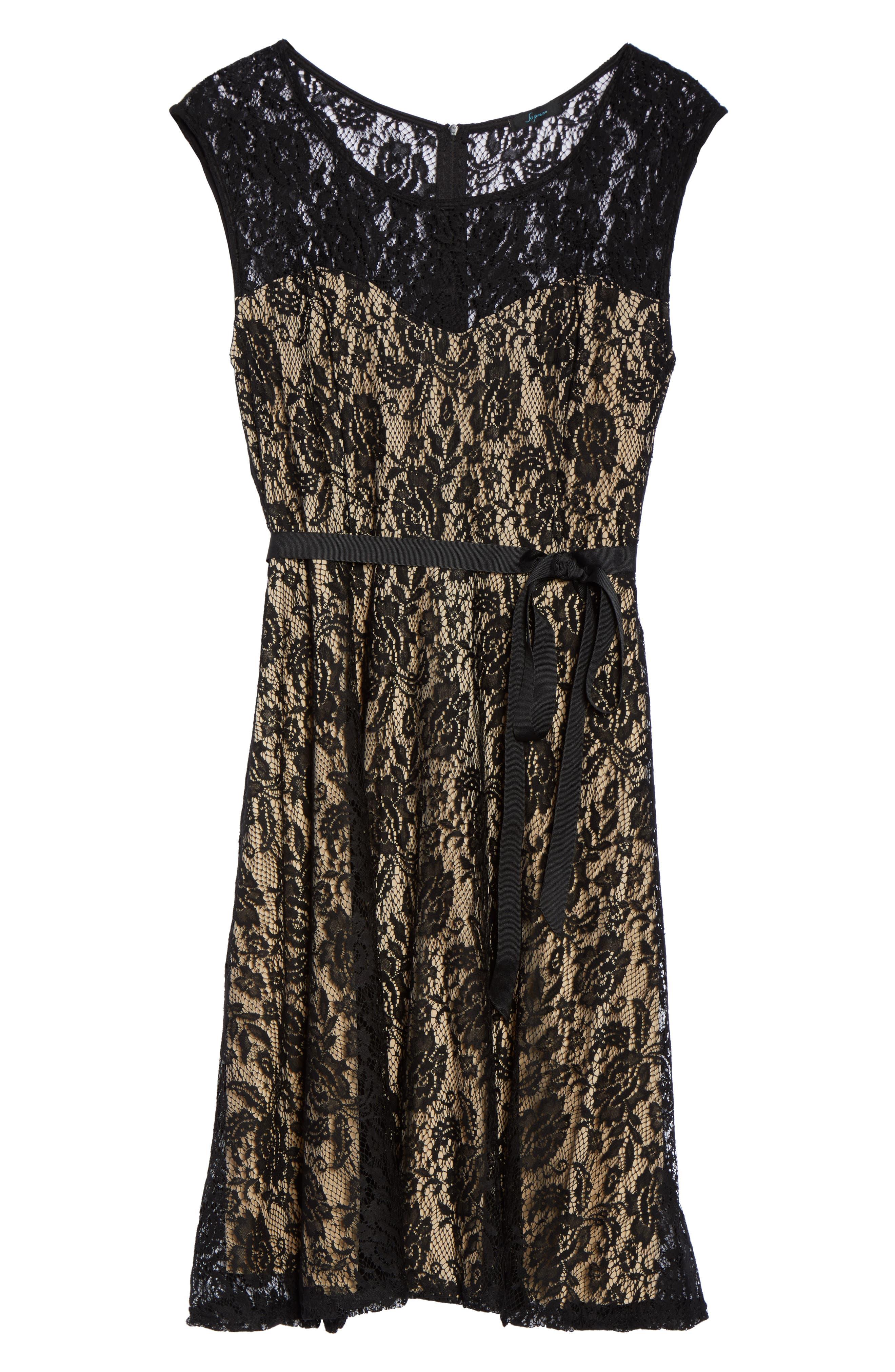 Tie Waist Lace Dress,                             Alternate thumbnail 6, color,