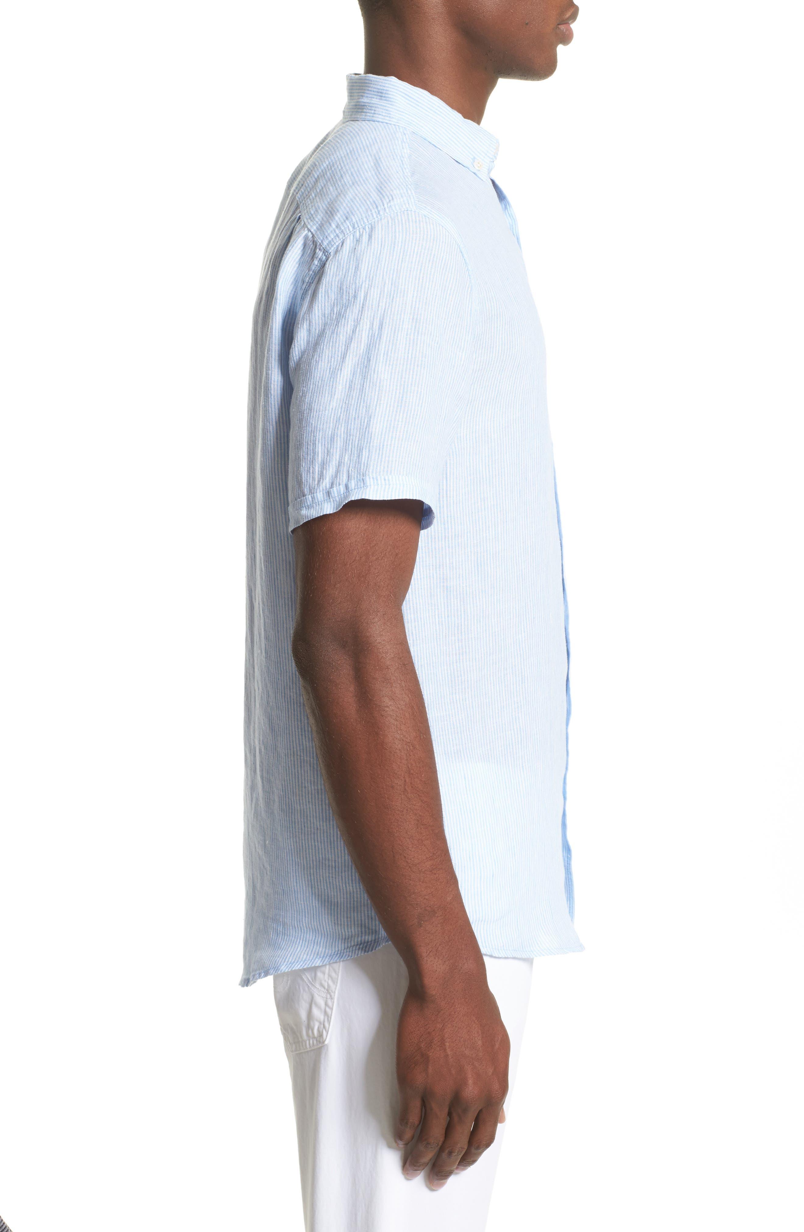 Trim Fit Microstripe Linen Shirt,                             Alternate thumbnail 8, color,