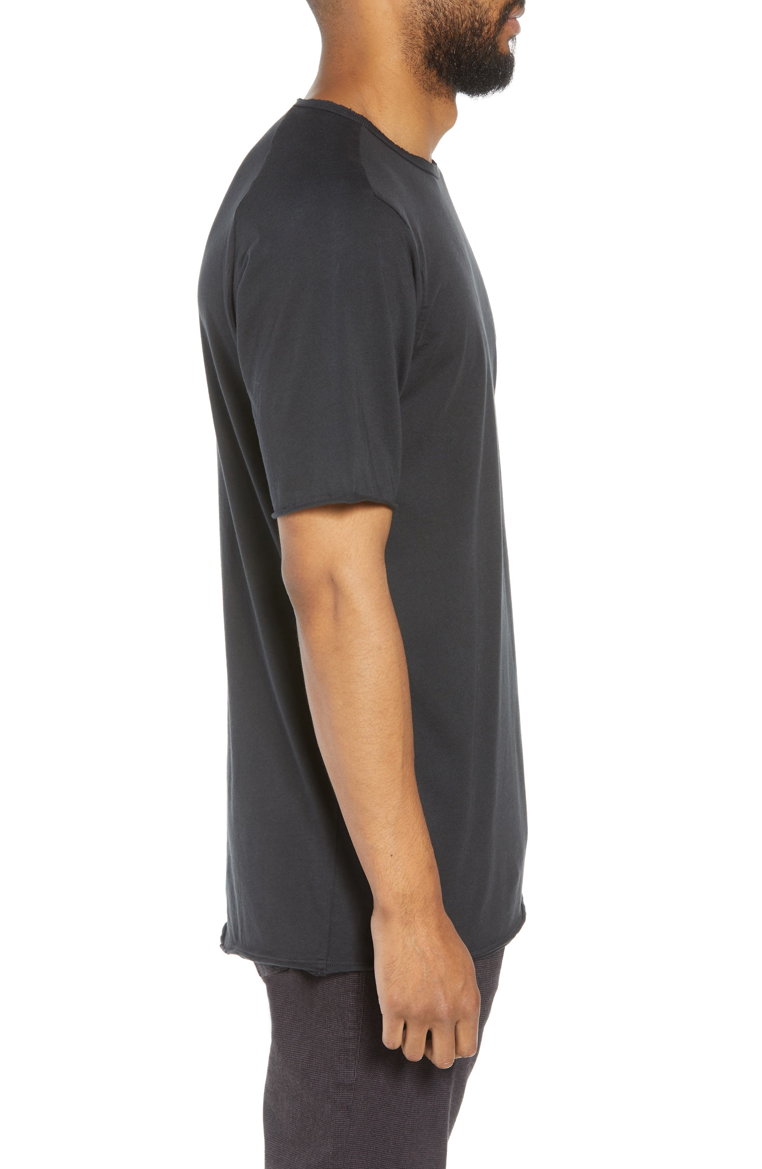 Regular Fit Elongated T-Shirt,                             Alternate thumbnail 3, color,                             BLACK