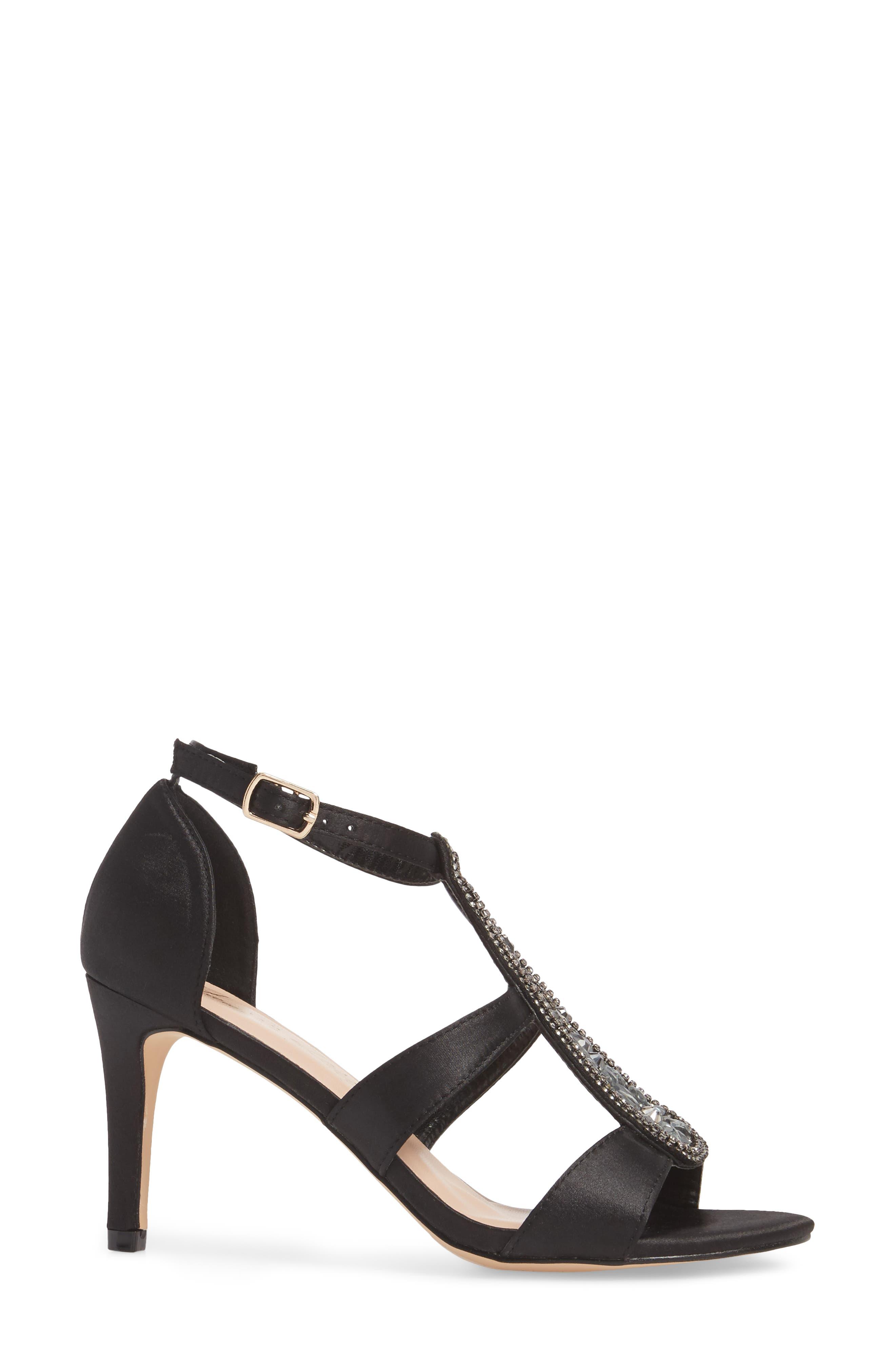 Ritz Crystal Embellished Sandal,                             Alternate thumbnail 3, color,                             BLACK FABRIC