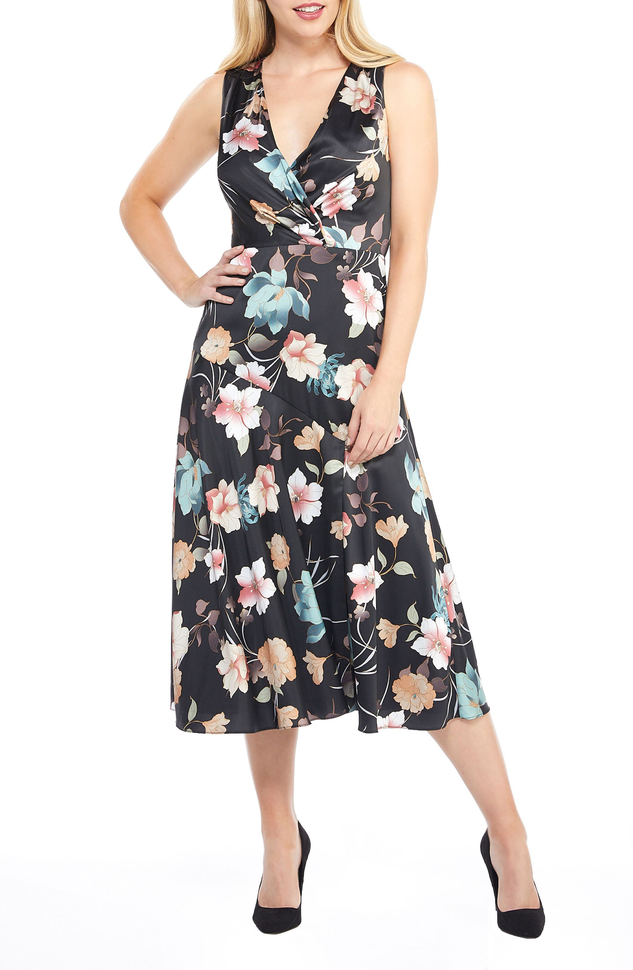 Maggy London Fiona Floral Midi Dress, Black