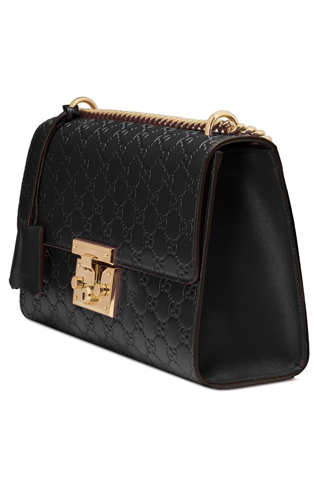 Medium Padlock Signature Leather Shoulder Bag,                             Alternate thumbnail 4, color,                             NERO