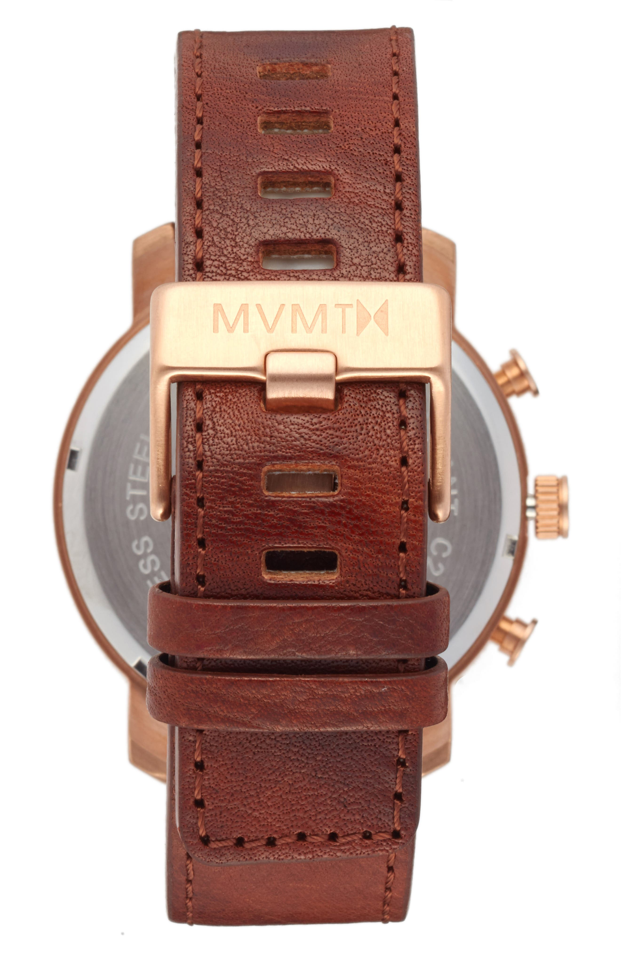 Chronograph Leather Strap Watch, 45mm,                             Alternate thumbnail 2, color,                             200
