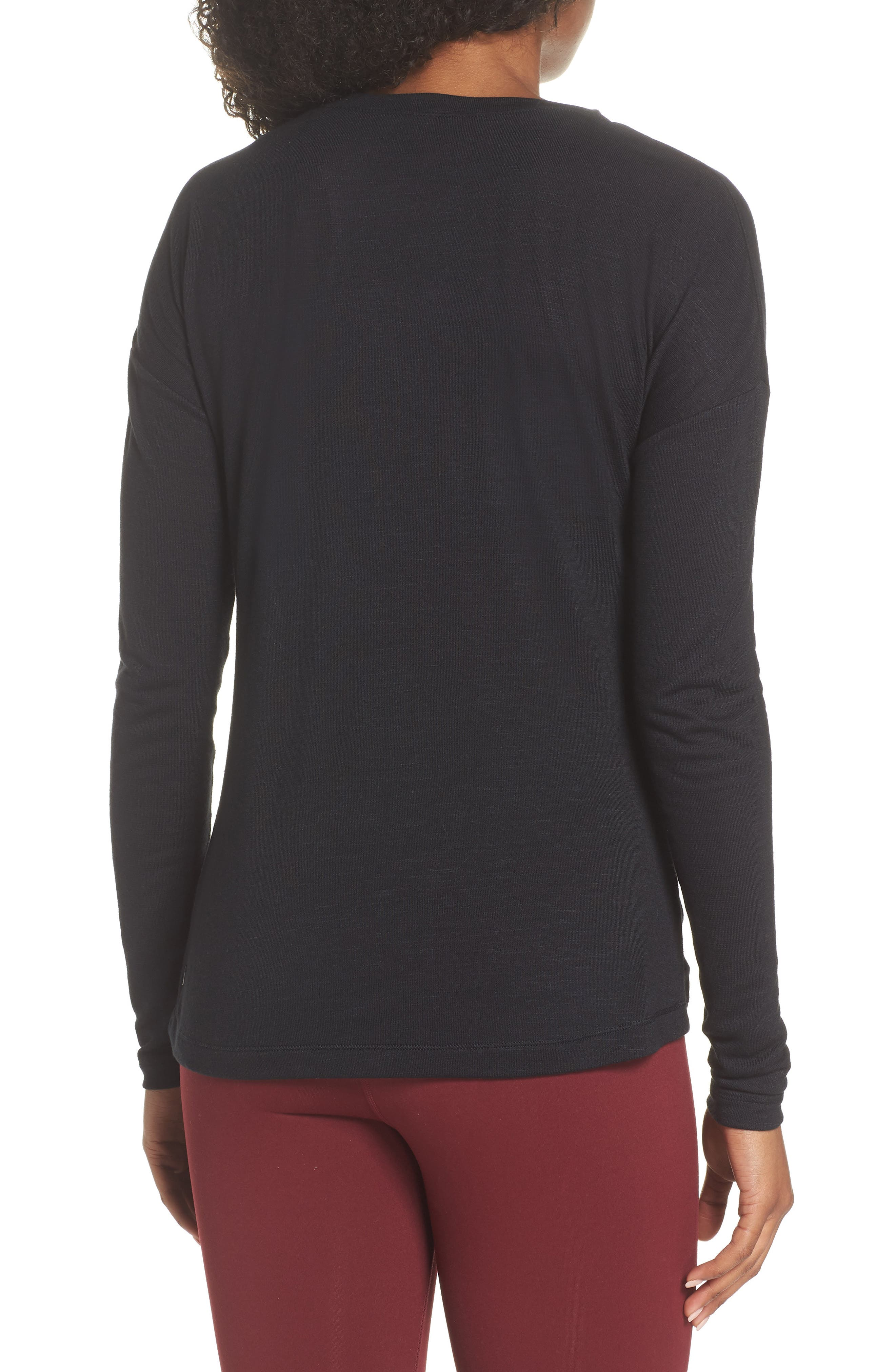 So Graceful Ruched Tee,                             Alternate thumbnail 2, color,                             BLACK