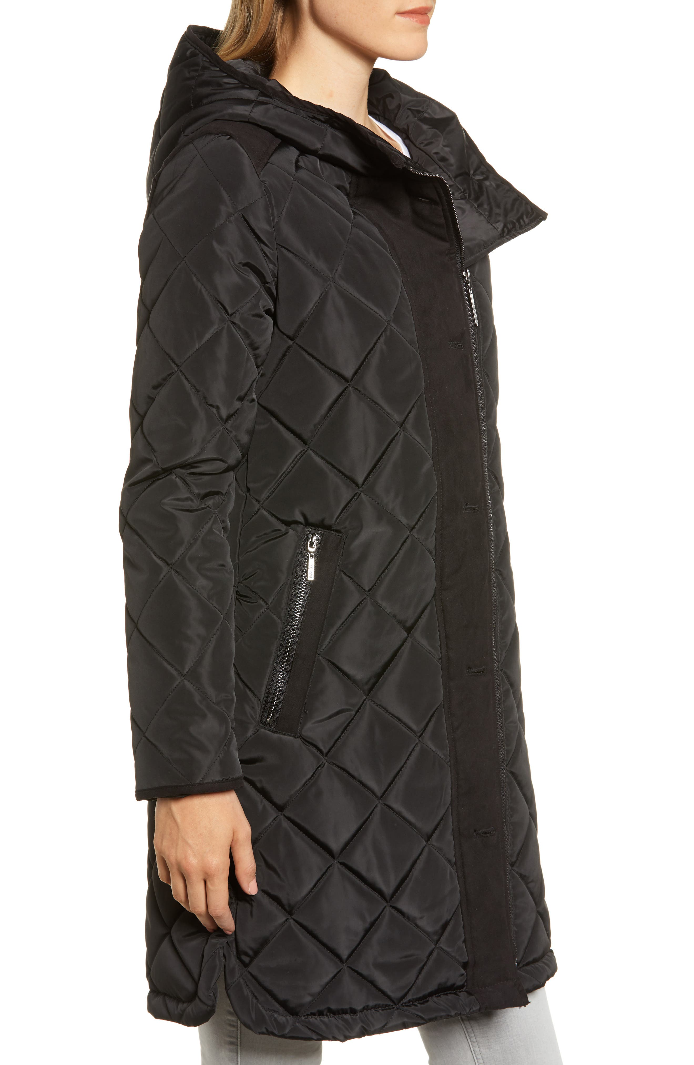 Button Side Quilted Jacket,                             Alternate thumbnail 3, color,                             BLACK