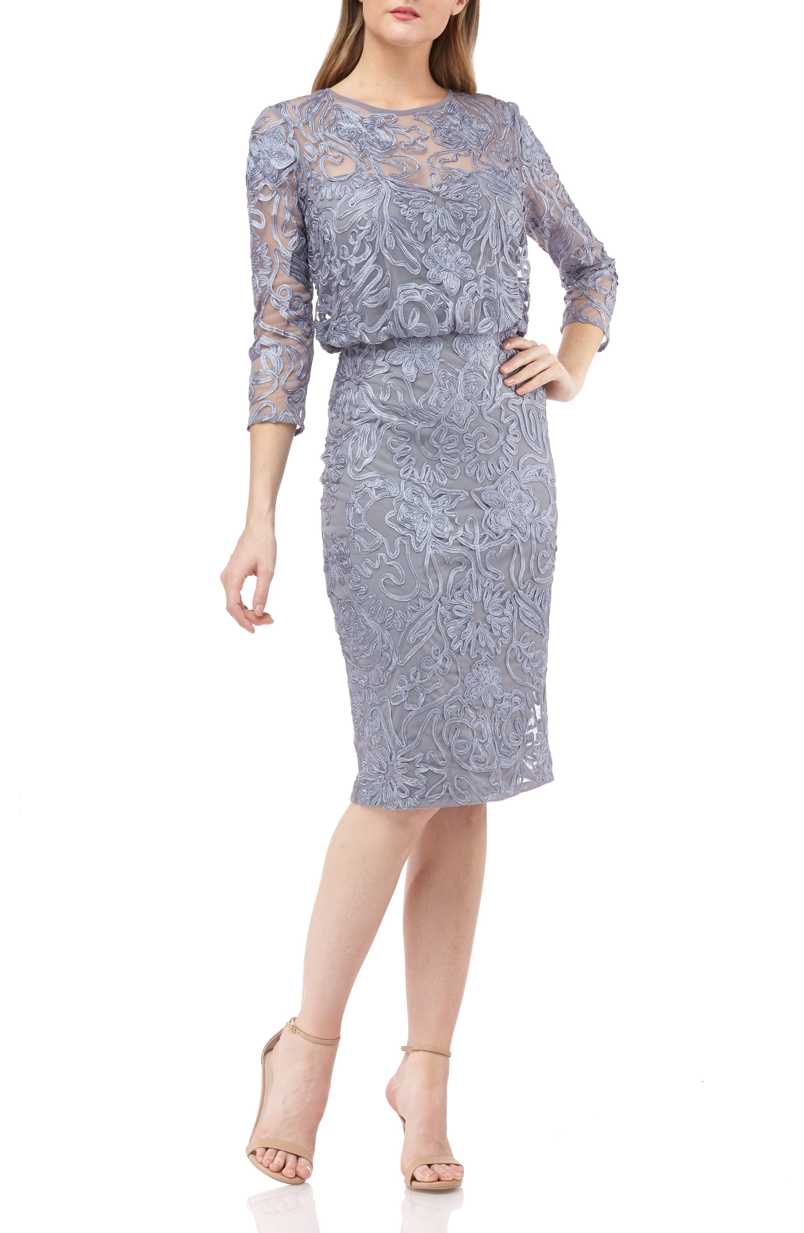 Js Collections Soutache Embroidered Blouson Dress, Grey