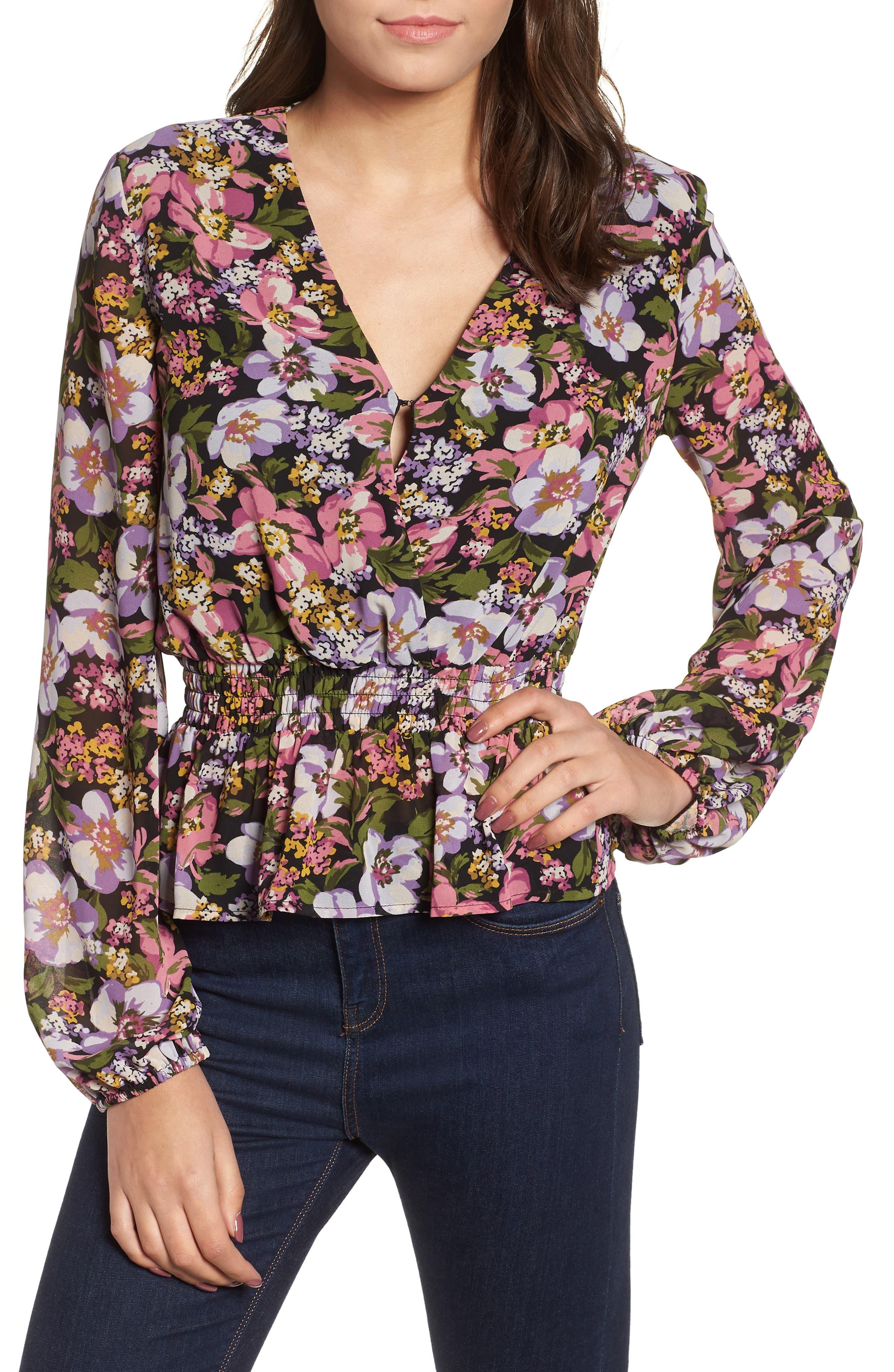 Beth Floral Top,                         Main,                         color, BLACK PETAL FLORAL