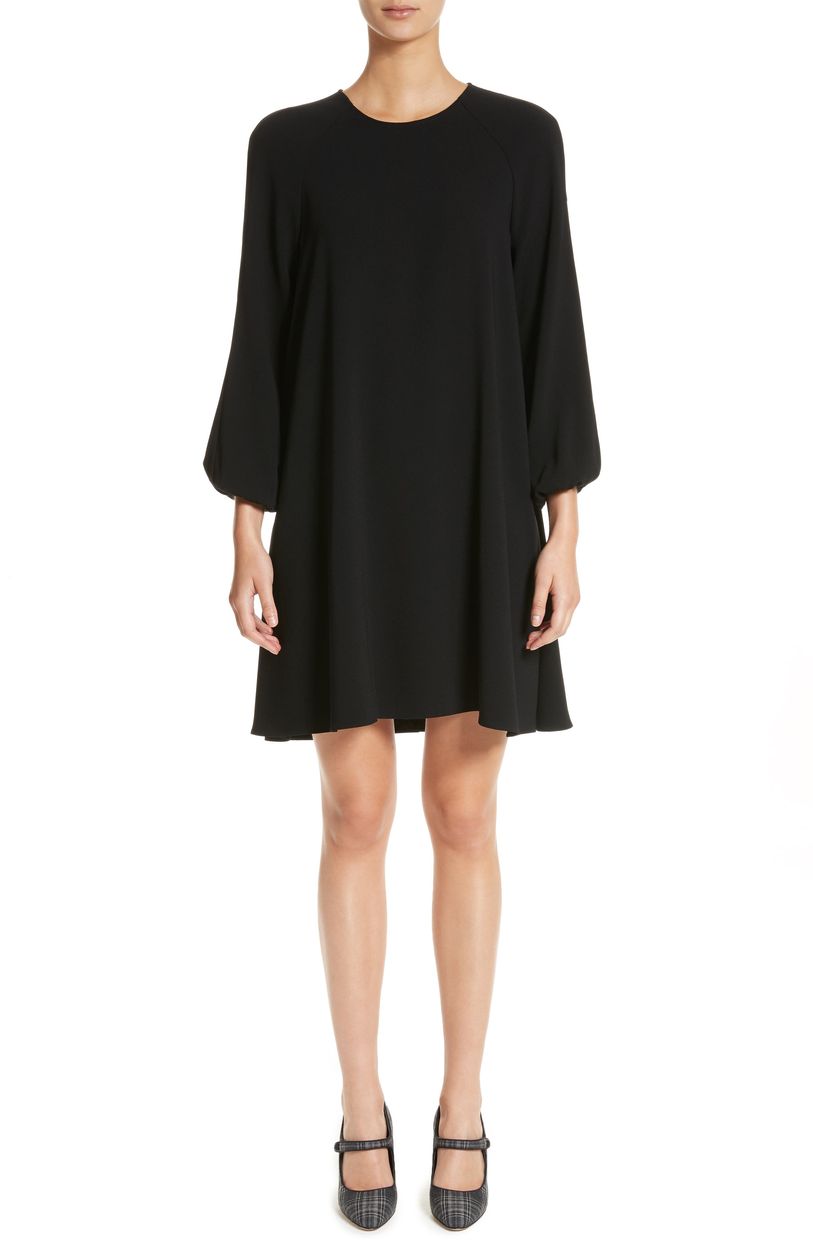 Raglan Sleeve Peasant Dress,                         Main,                         color, BLACK