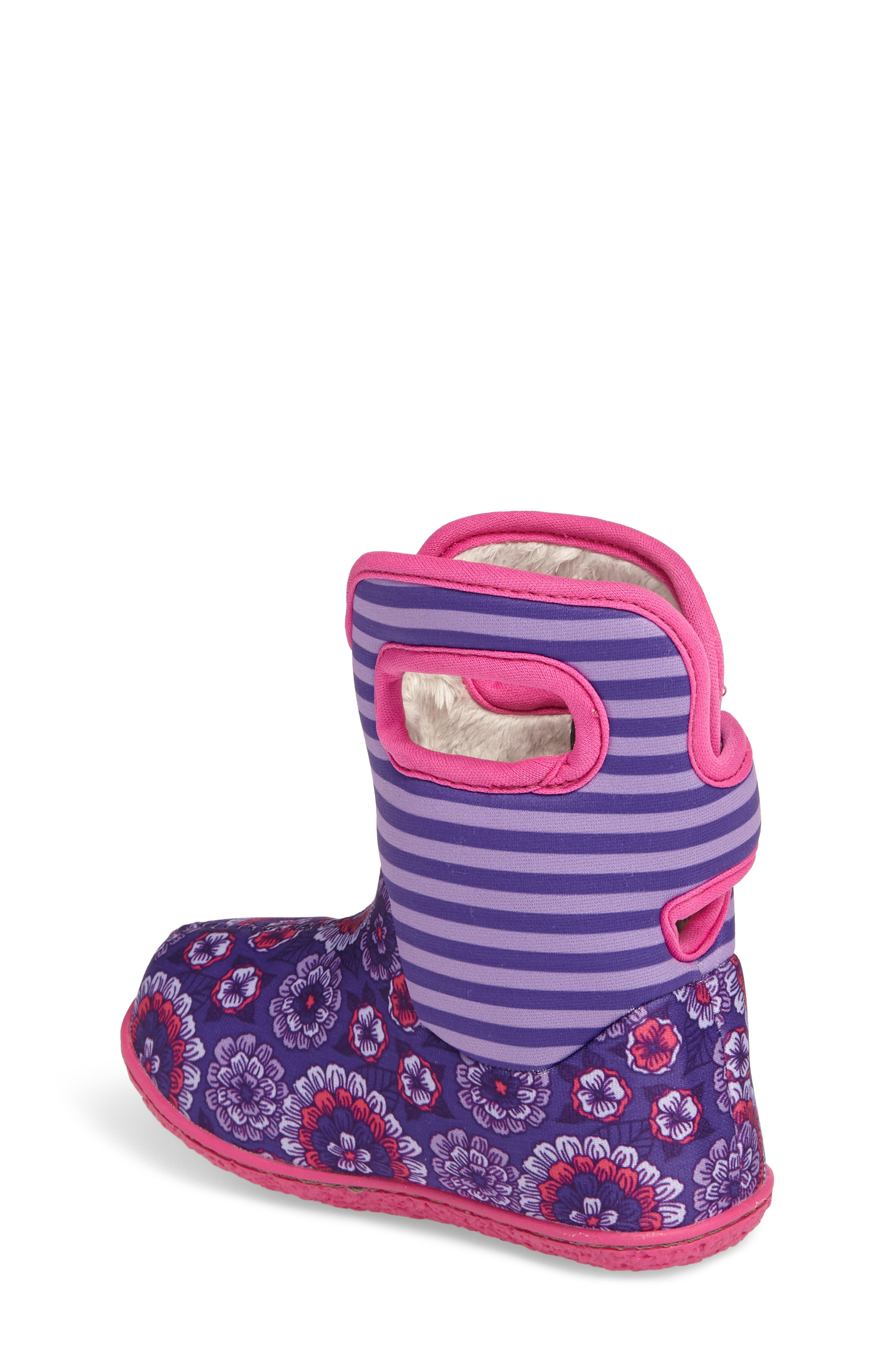 Baby Bogs Classic Pansies Washable Insulated Waterproof Boot,                             Alternate thumbnail 2, color,                             PURPLE MULTI