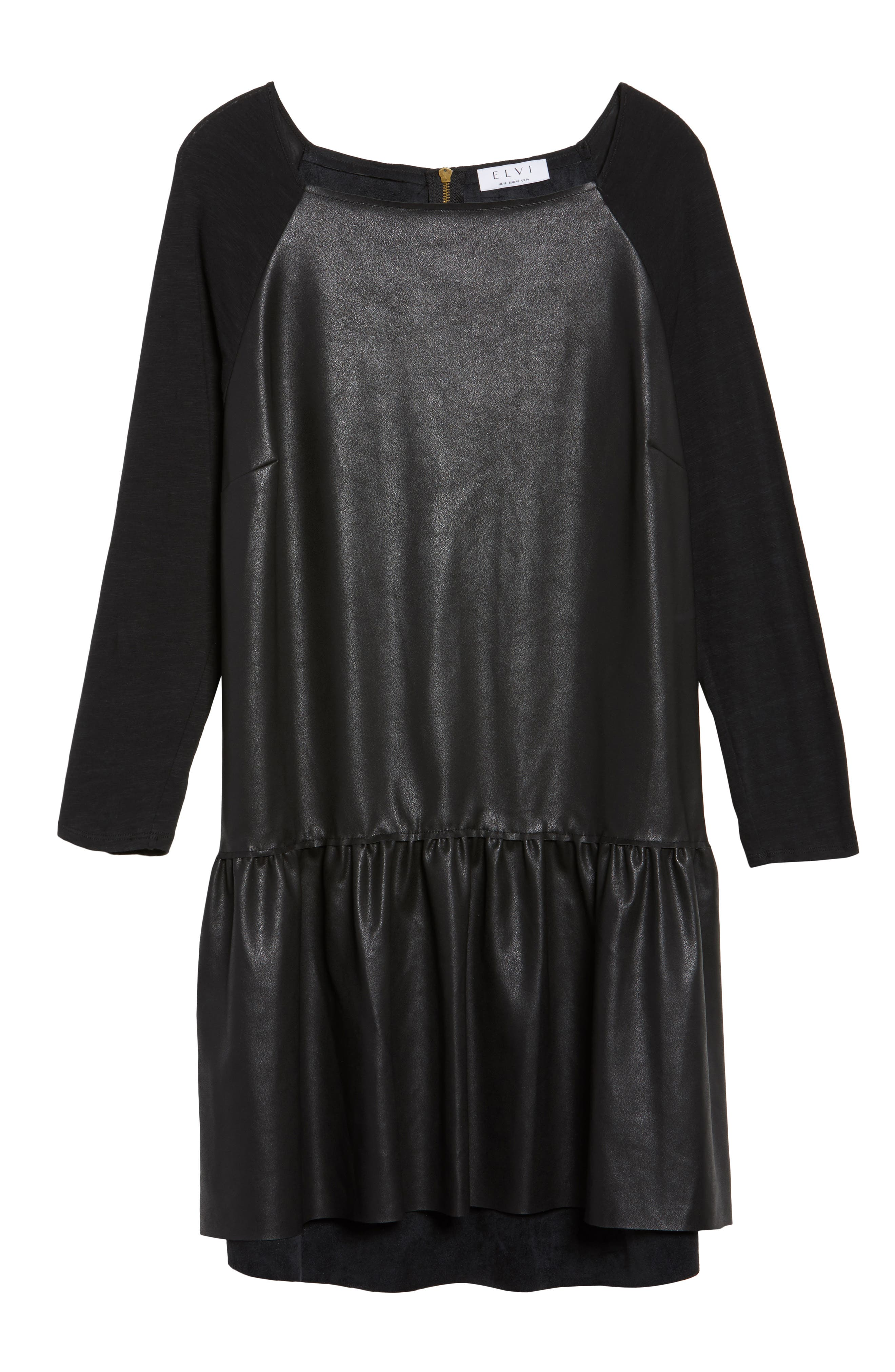 Drop Waist Faux Leather & Knit Dress,                             Alternate thumbnail 6, color,