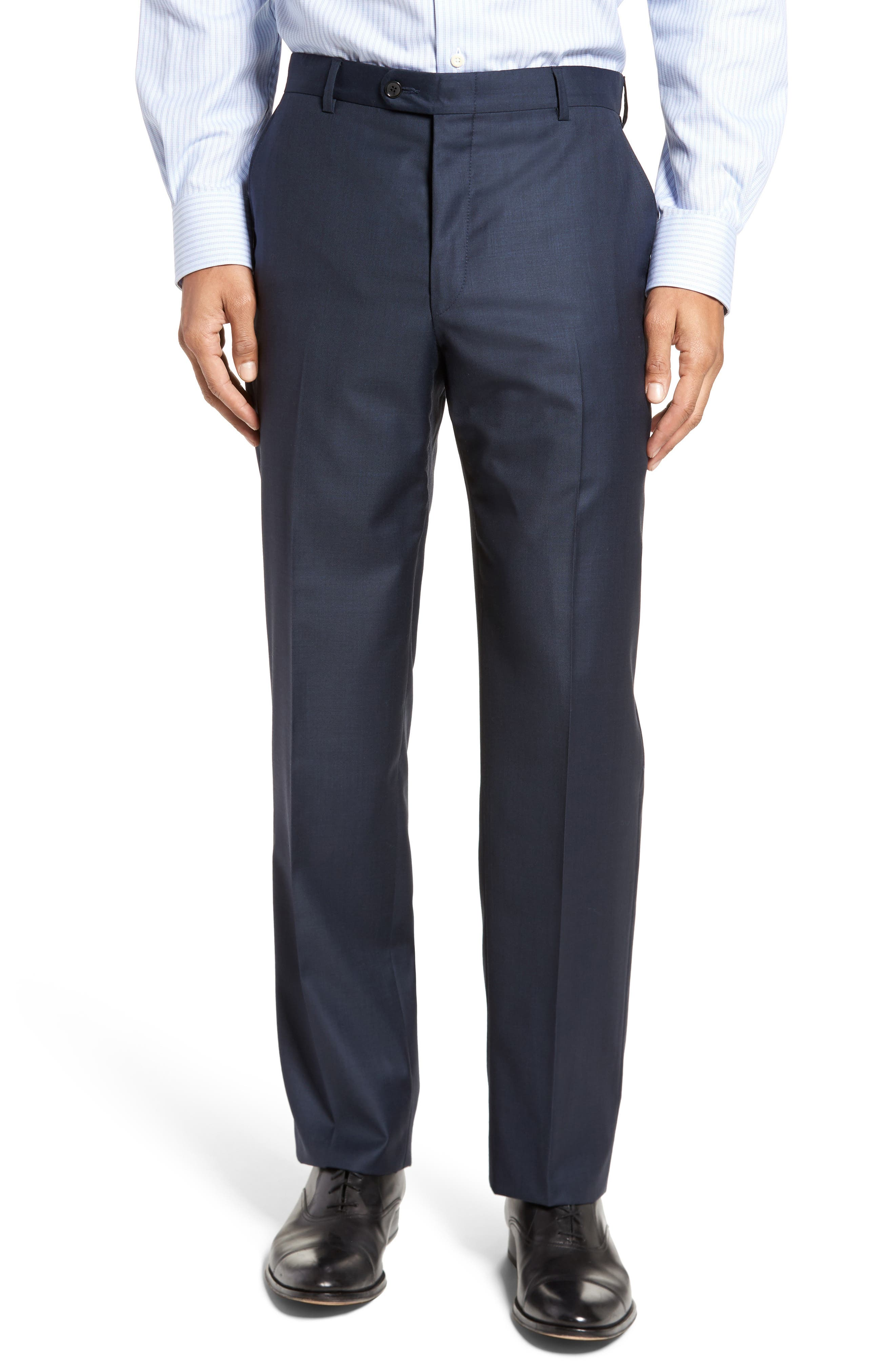 Modern H Fit Solid Loro Piana Wool Suit,                             Alternate thumbnail 6, color,                             NAVY SHARKSKIN
