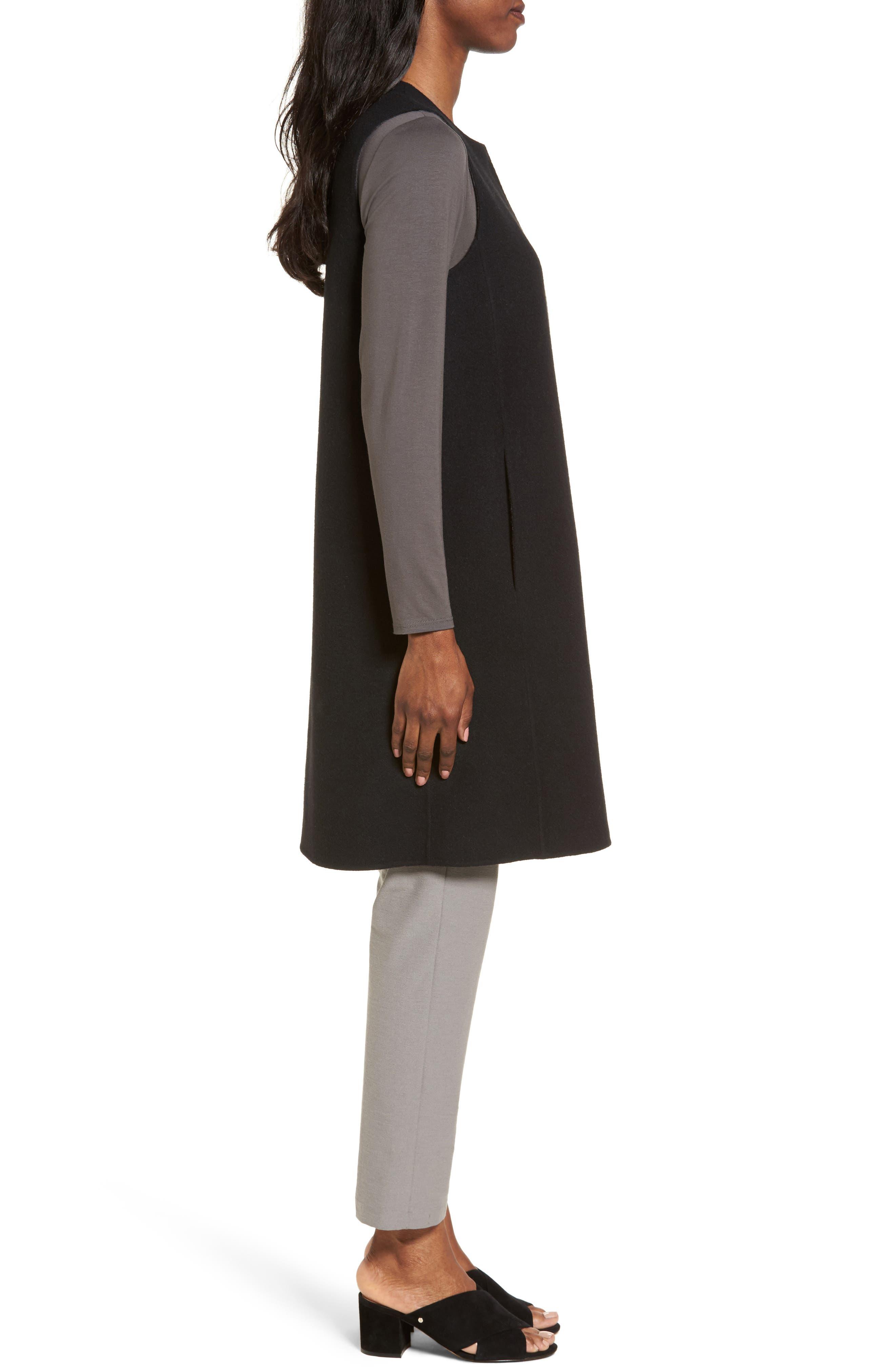 Long Wool Blend Vest,                             Alternate thumbnail 3, color,                             010