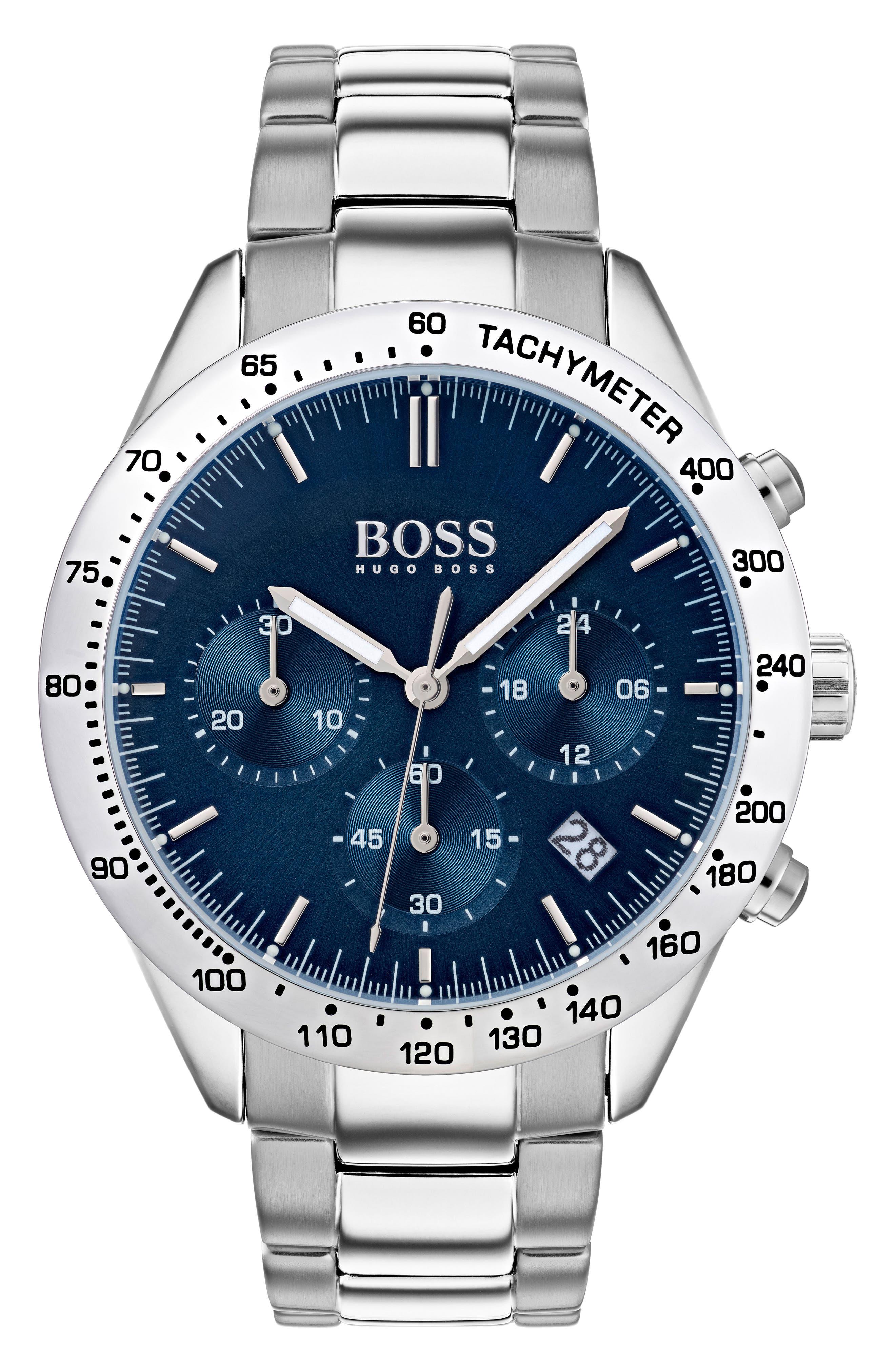 BOSS,                             Talent Chronograph Bracelet Watch, 42mm,                             Main thumbnail 1, color,                             BLUE/ STAINLESS
