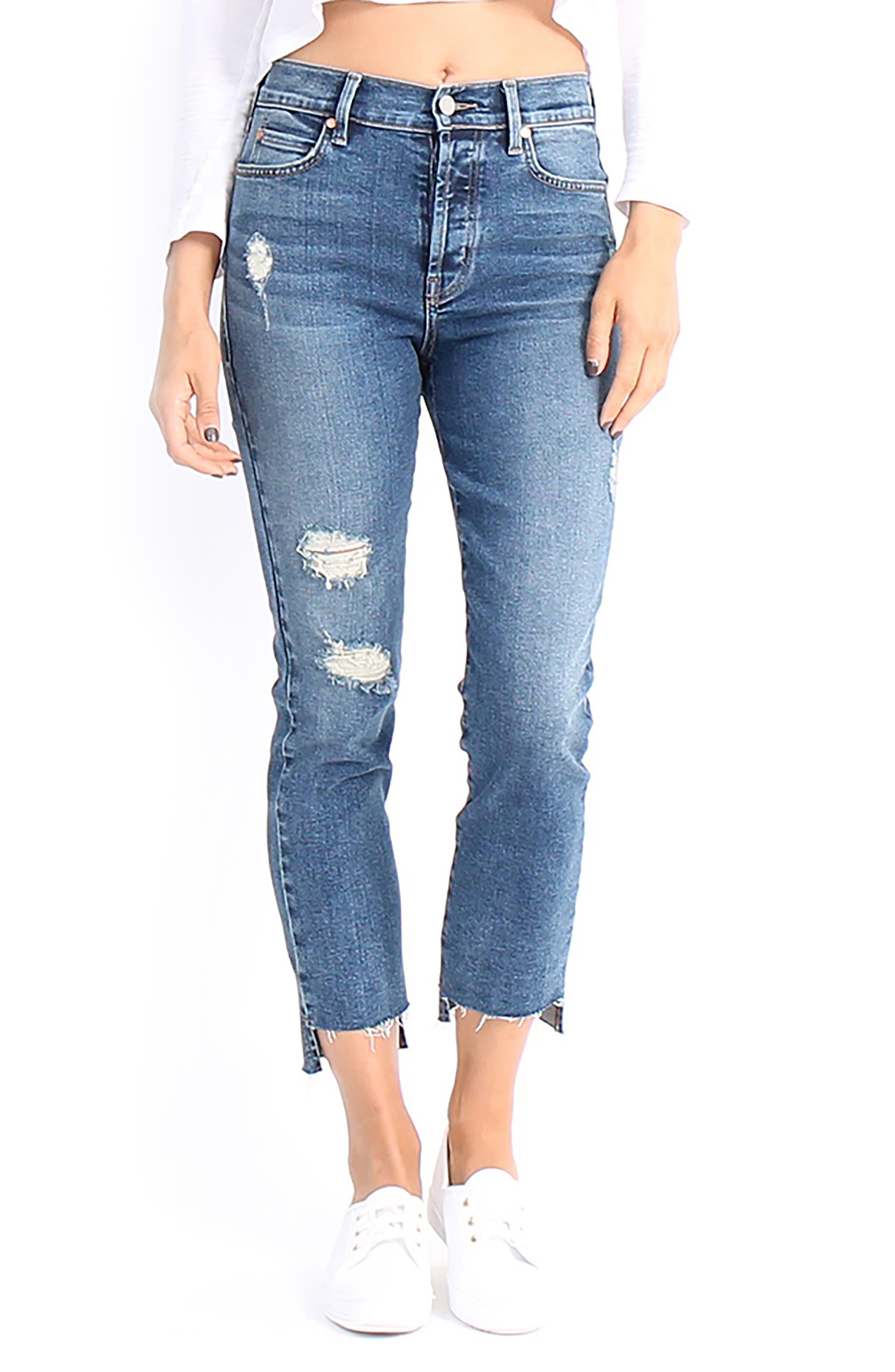 Skylar High-Waist Step Hem Distressed Jeans,                         Main,                         color, 411