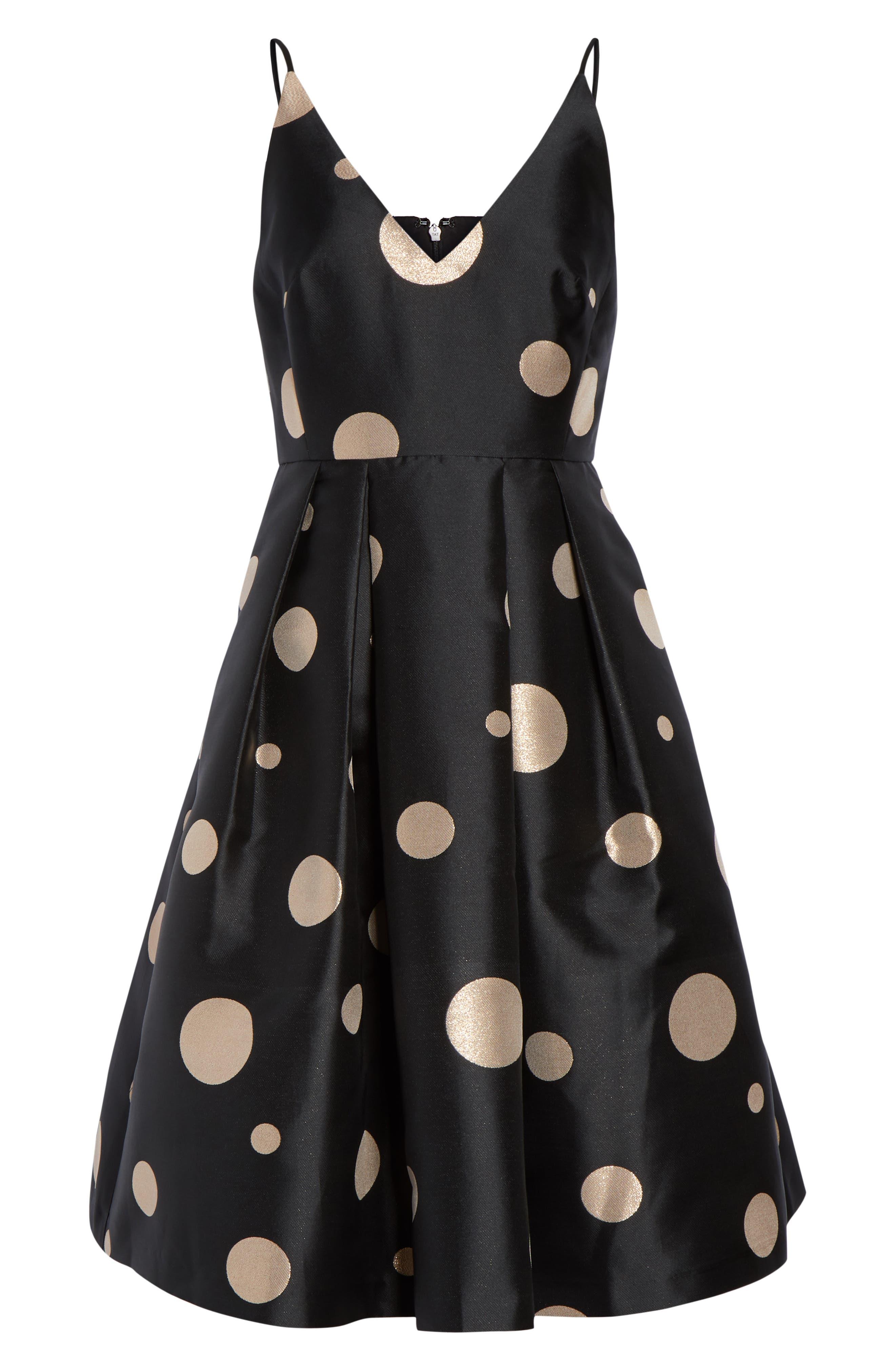 Dot Fit & Flare Party Dress,                             Alternate thumbnail 7, color,                             GOLD POLKA DOT