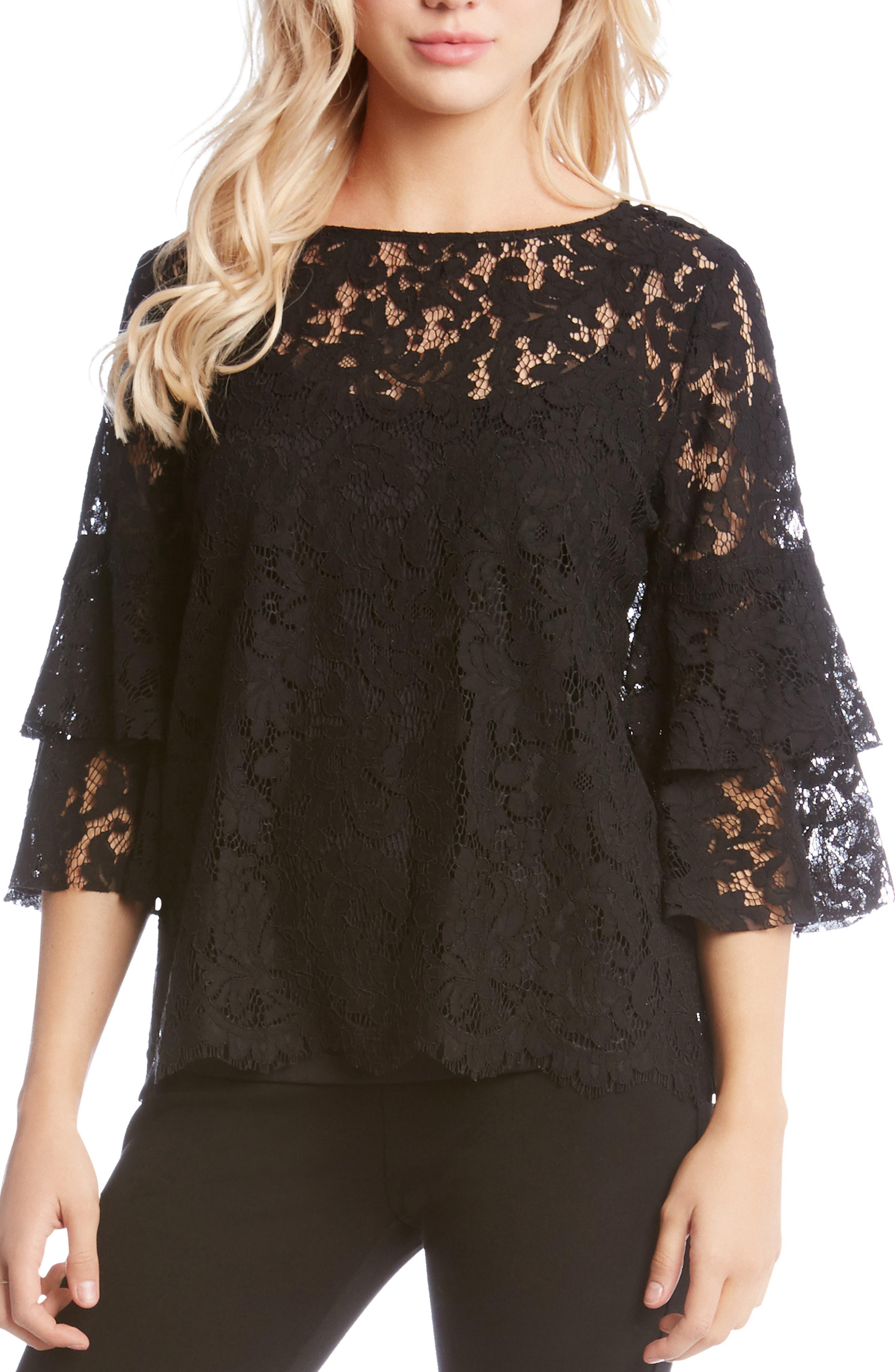 Lace Ruffle Sleeve Top,                             Main thumbnail 1, color,                             BLACK