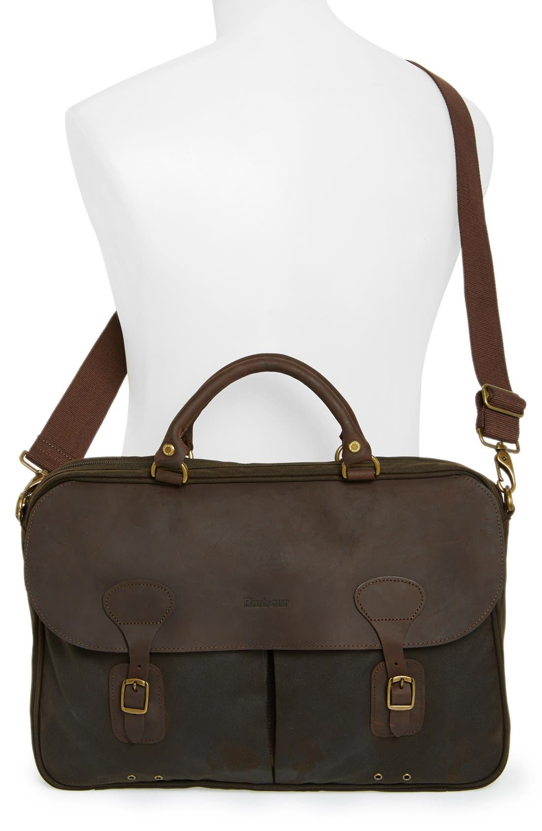 Waxed Canvas Briefcase,                             Alternate thumbnail 2, color,                             OLIVE/ BROWN