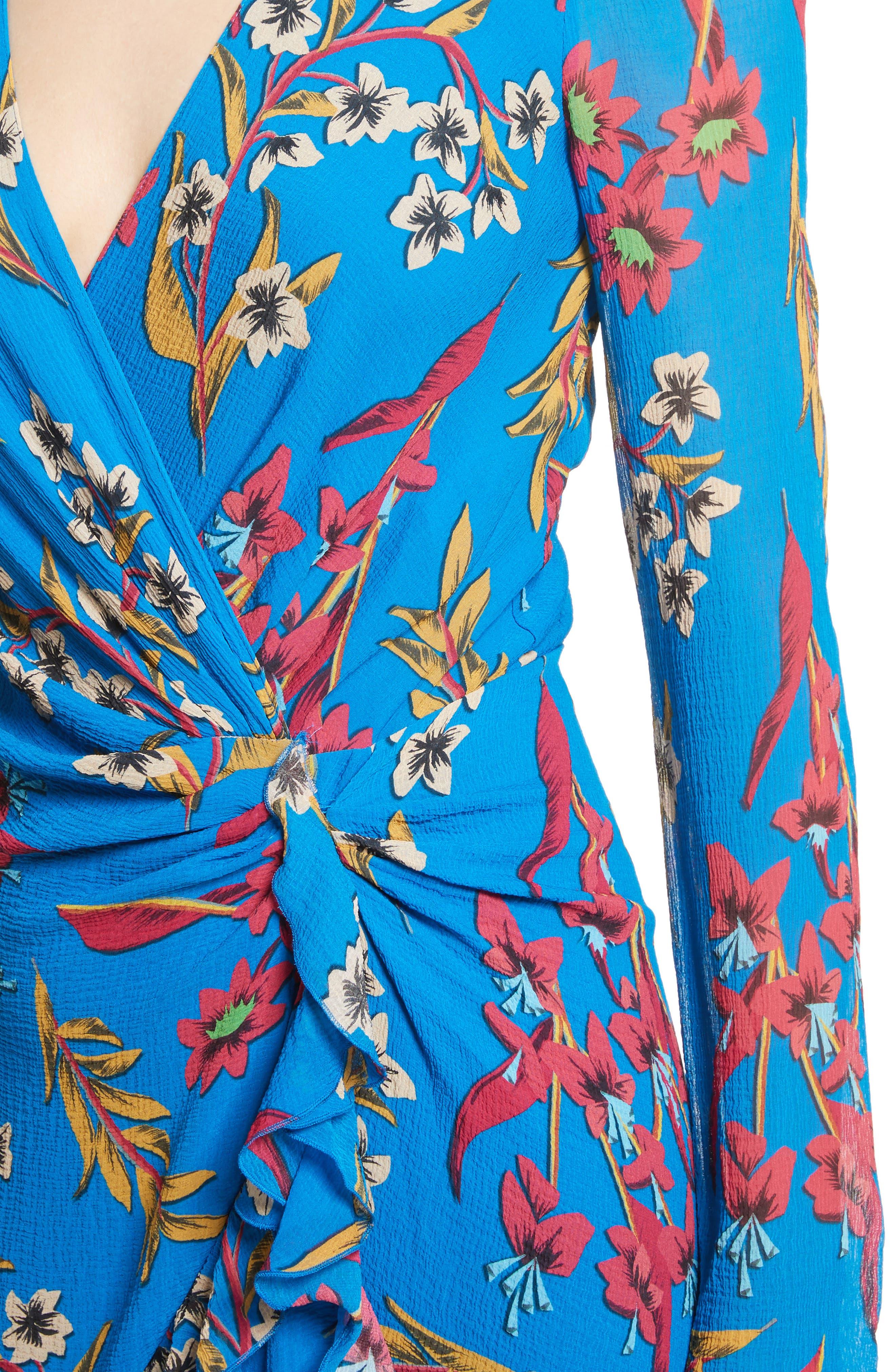 Jungle Floral Print Asymmetrical Ruffle Dress,                             Alternate thumbnail 4, color,                             410