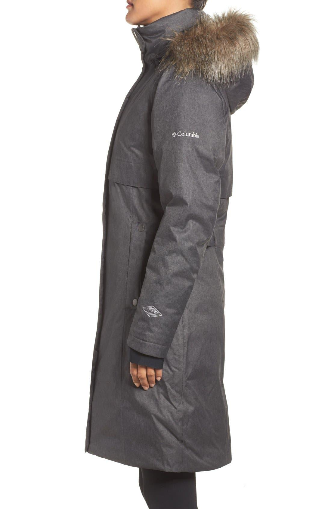 Apres Arson<sup>™</sup> Down Jacket with Faux Fur Trim,                             Alternate thumbnail 4, color,                             010
